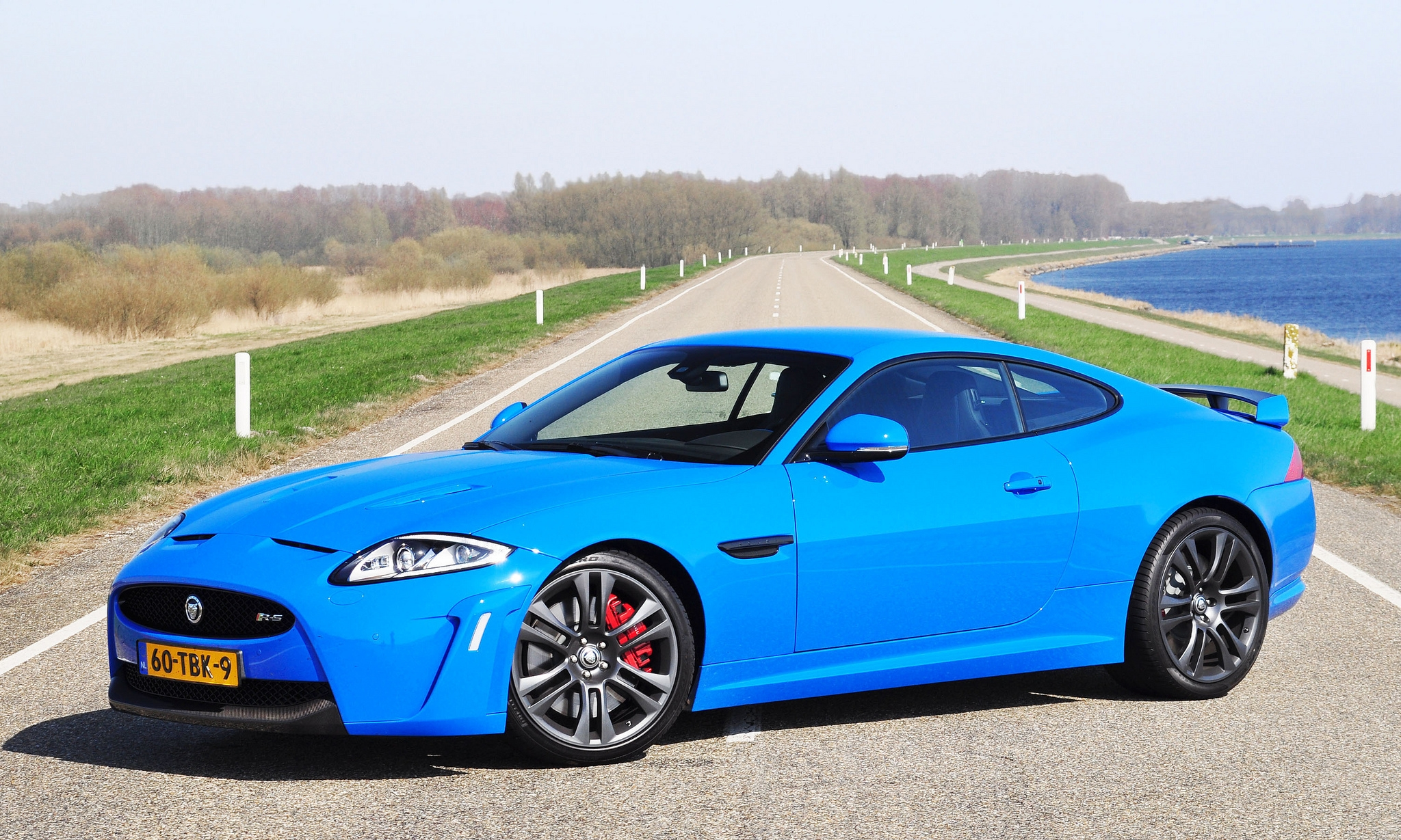 126583 download wallpaper Trees, Grass, Jaguar, Cars, Lake, Road screensavers and pictures for free