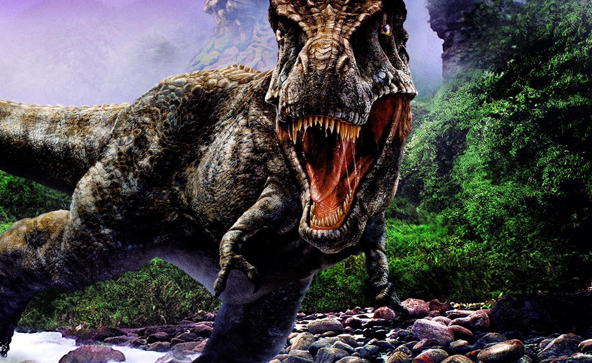 92265 скачать обои Фэнтези, Динозавр, Деревья, Камни, Агрессия, Пасть - заставки и картинки бесплатно