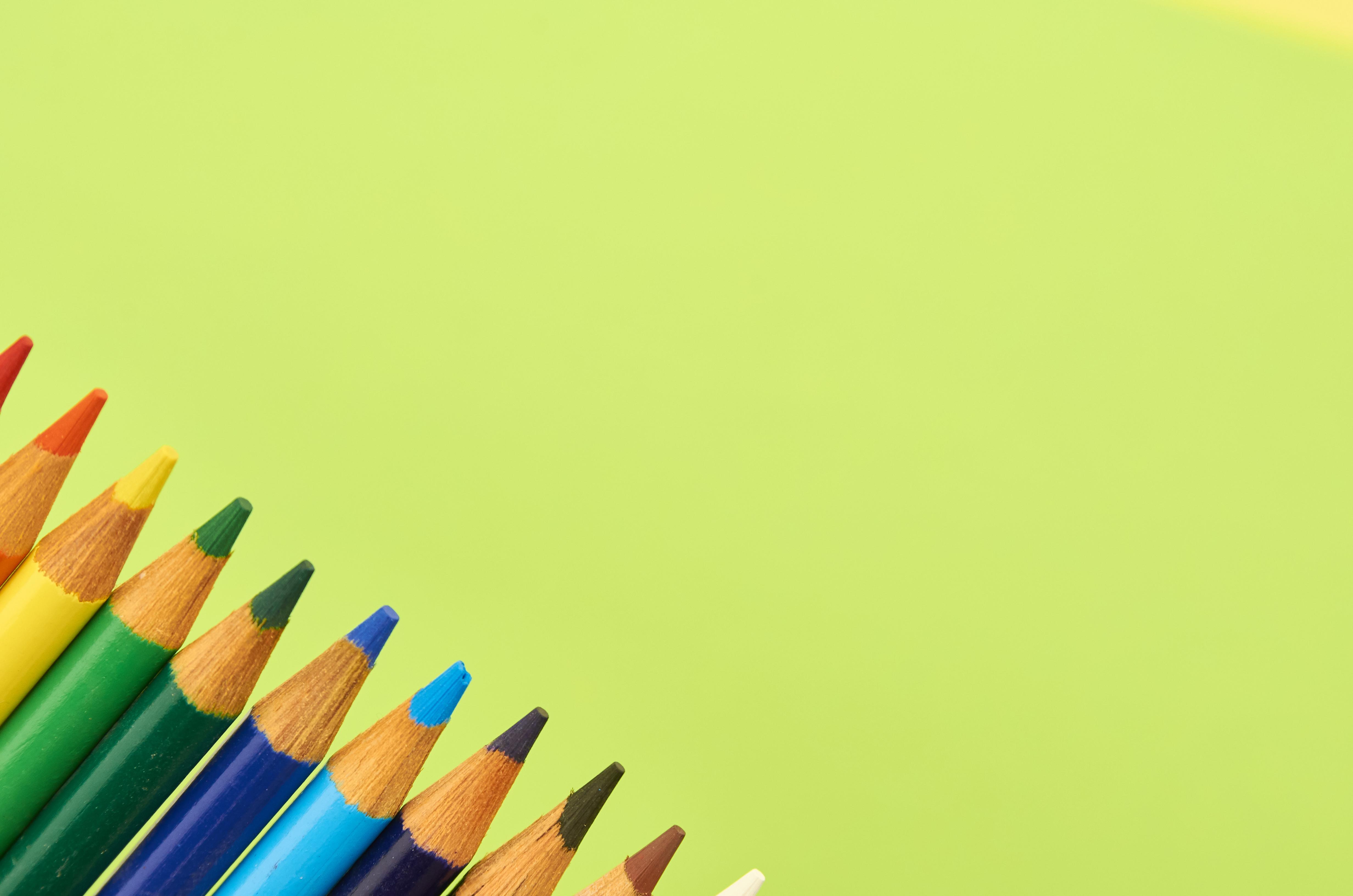 141141 скачать обои Разное, Карандаш, Разноцветный, Зеленый, Фон - заставки и картинки бесплатно