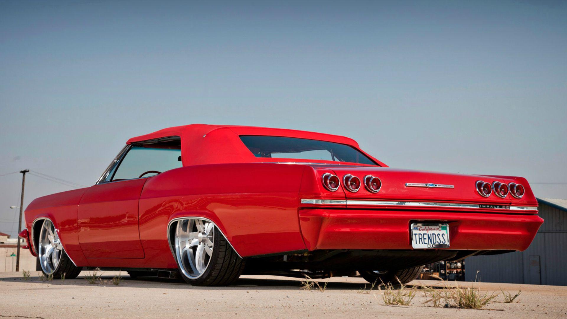 111930 скачать обои Тачки (Cars), Шевроле (Chevrolet), Impala, 1965, Красный, Вид Сбоку - заставки и картинки бесплатно