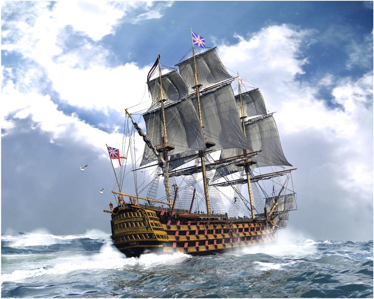 7895 скачать обои Транспорт, Небо, Корабли, Море, Облака - заставки и картинки бесплатно