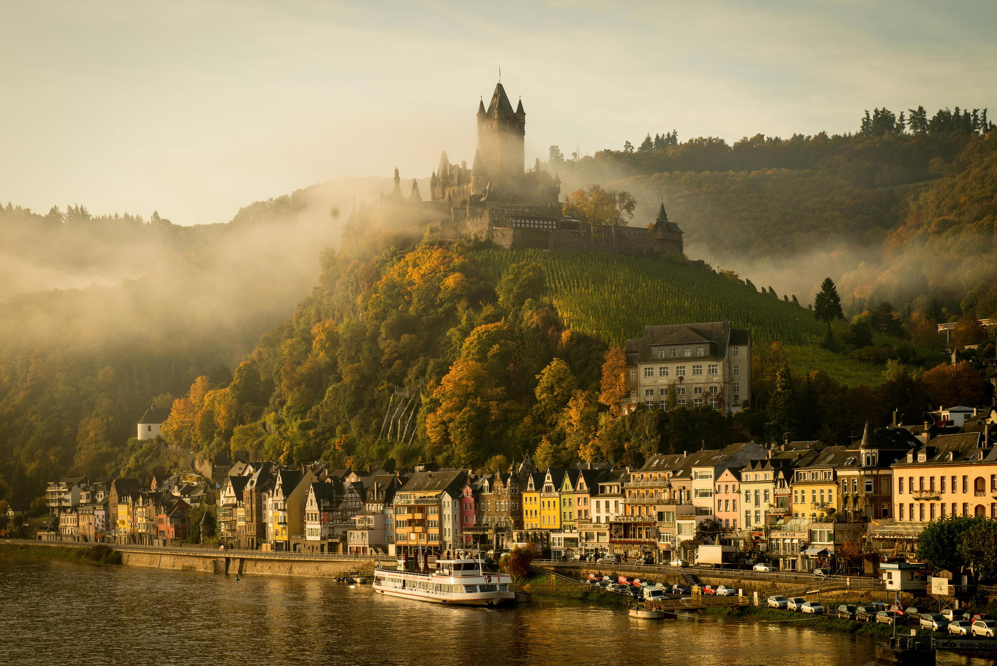 121032 Screensavers and Wallpapers Cities for phone. Download Germany, Cities, Rivers, Lock, Cochem, Kohem, Moselle pictures for free