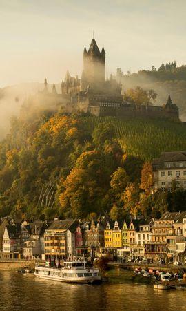 121032 Заставки и Обои Река на телефон. Скачать Германия, Кохем, Мозель, Река, Замок, Города картинки бесплатно