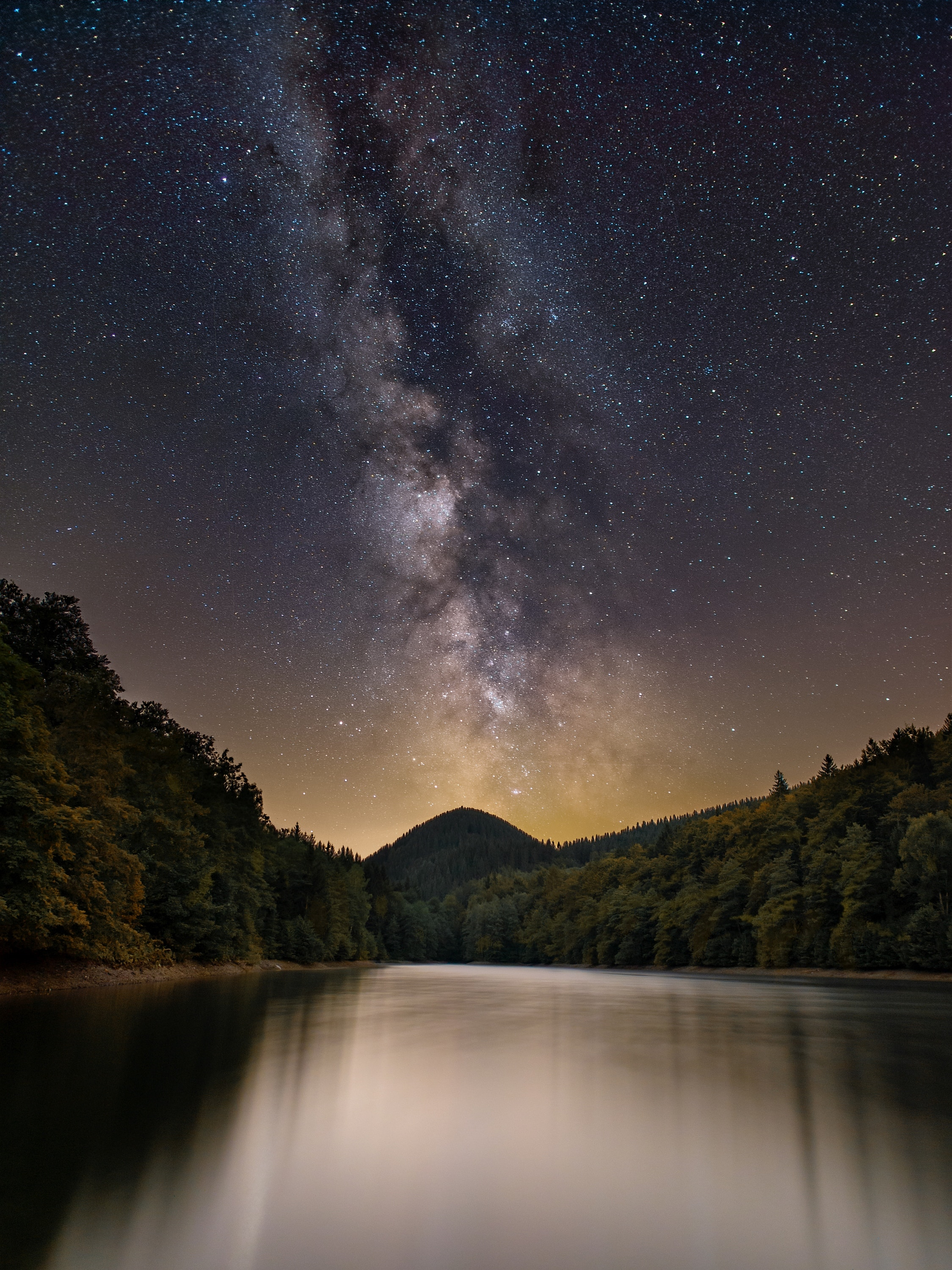 89680 download wallpaper Lake, Nature, Trees, Mountain, Starry Sky, Milky Way screensavers and pictures for free