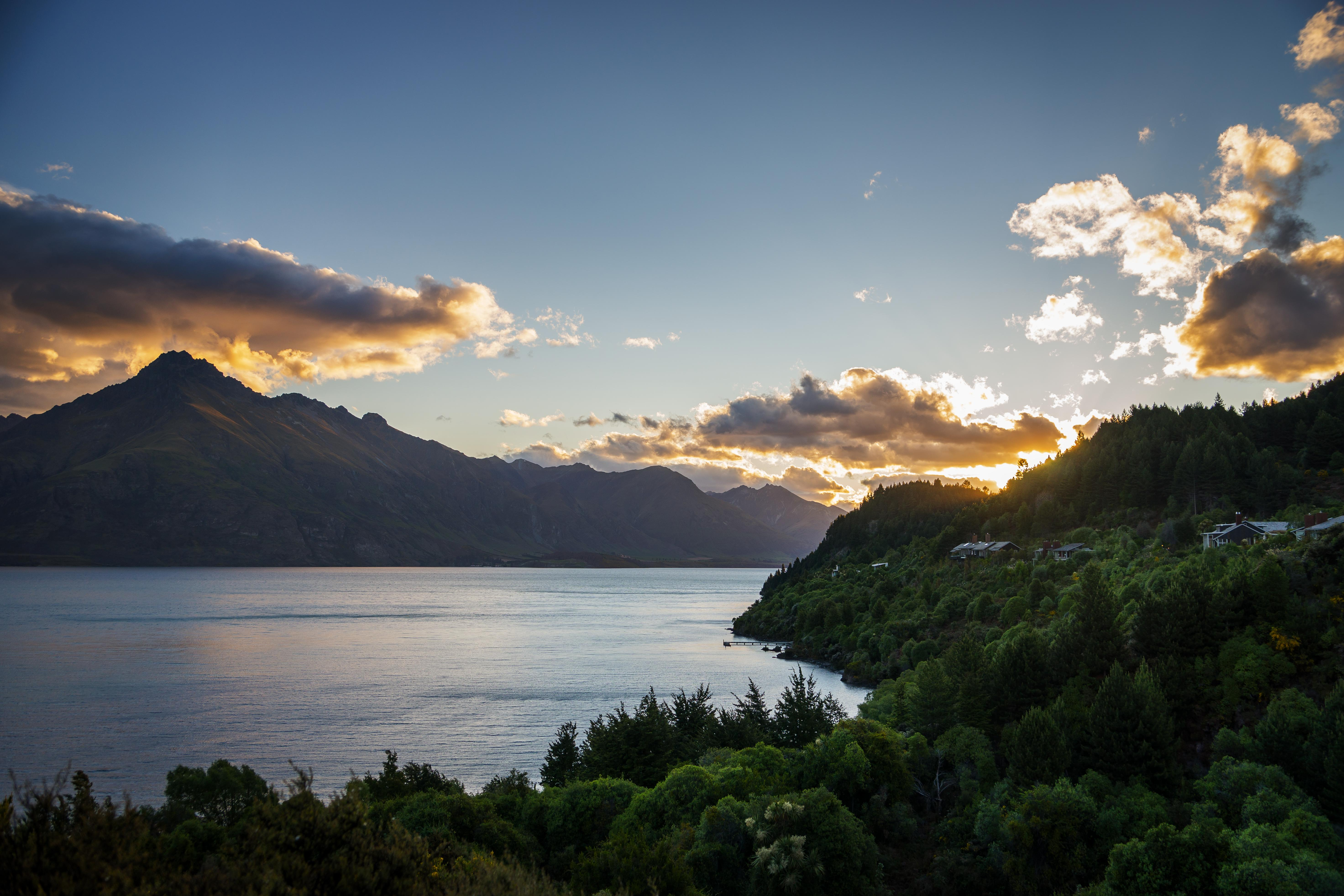 106940 download wallpaper Sunset, Lake, Nature, Trees, Mountains, Wakatipu, New Zealand screensavers and pictures for free
