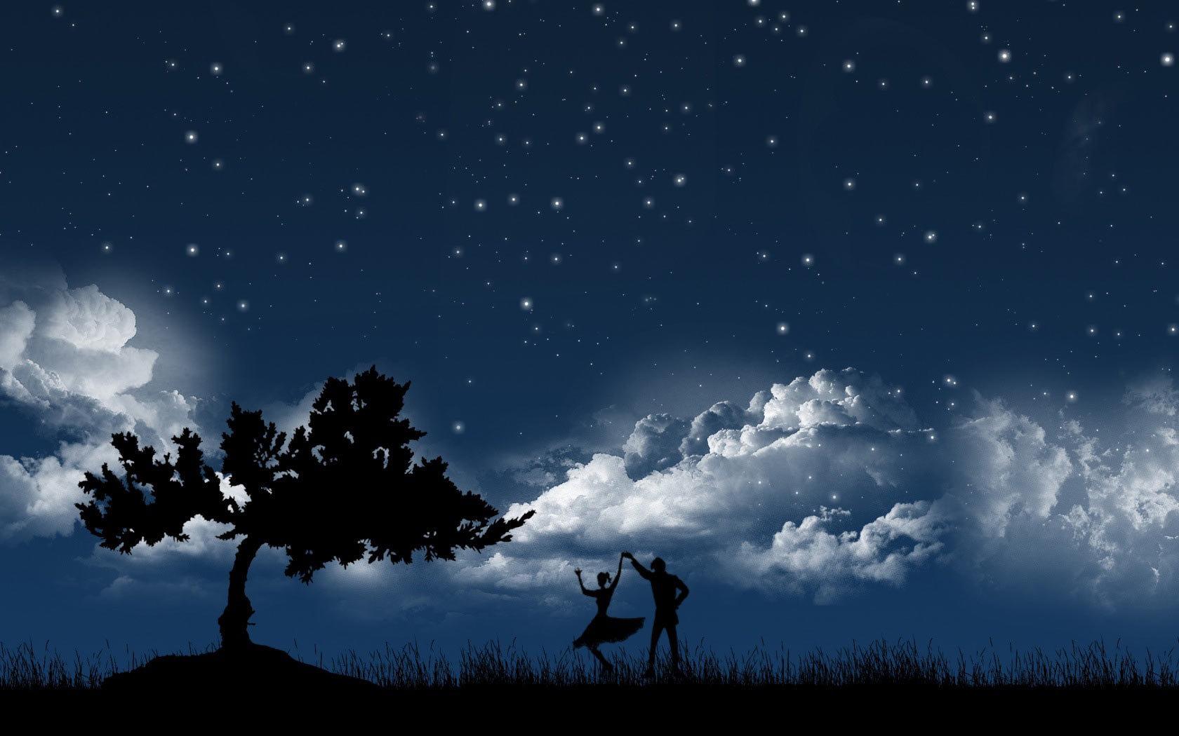 22098 скачать обои Люди, Деревья, Небо, Звезды, Ночь, Облака, Рисунки, Танцы - заставки и картинки бесплатно