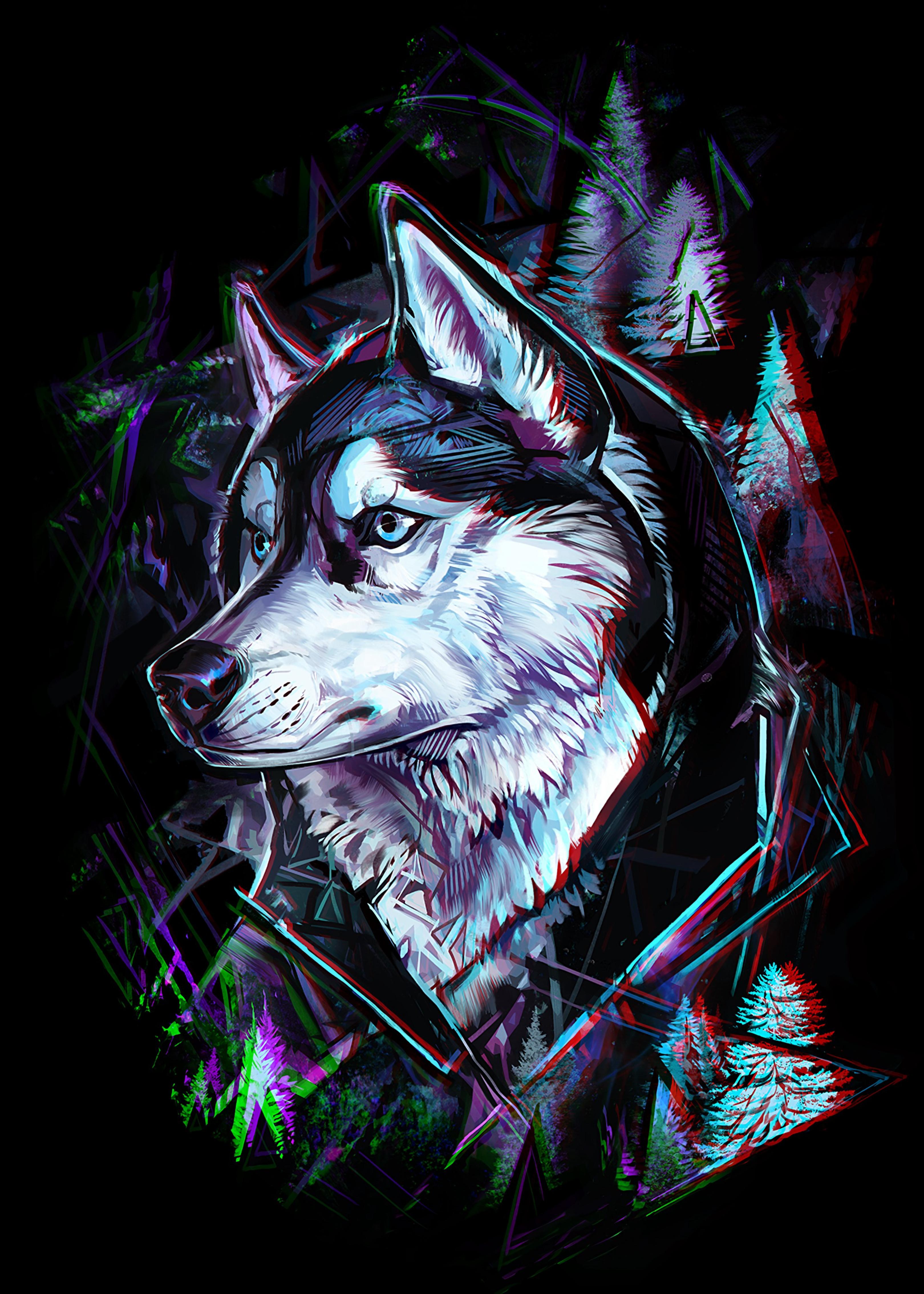 123417 Hintergrundbild herunterladen Bäume, Kunst, Linien, Wolf, Kopf, Panne, Glitch - Bildschirmschoner und Bilder kostenlos