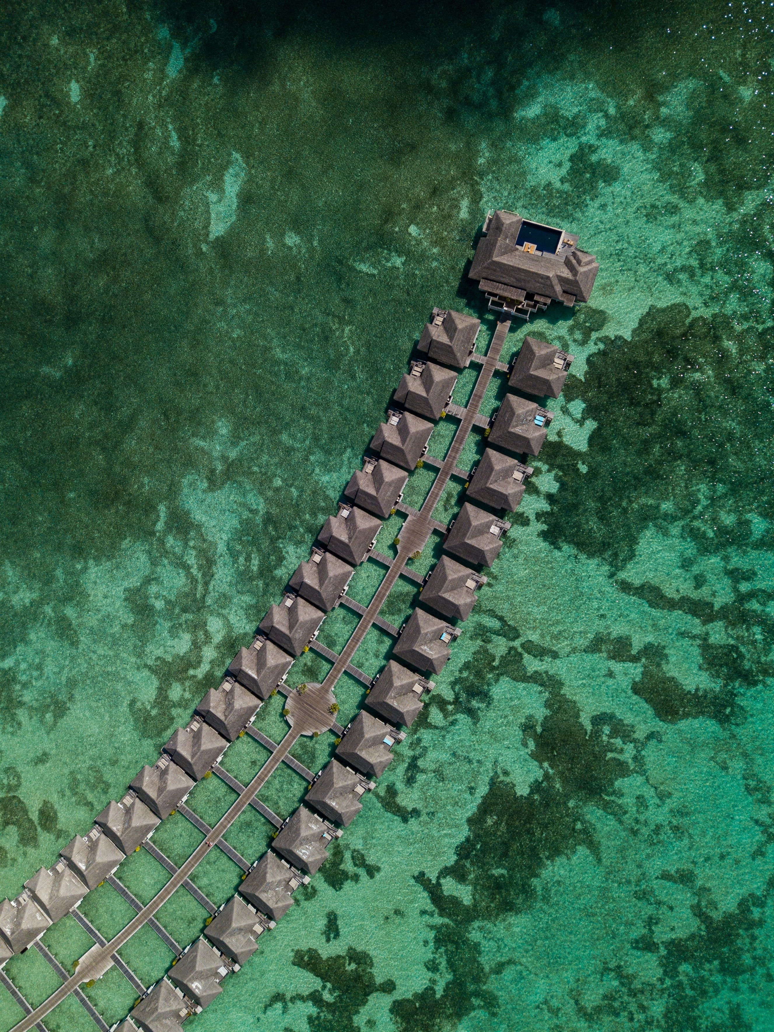 54202 download wallpaper Nature, Bungalow, Ocean, View From Above, Tropics, Water screensavers and pictures for free