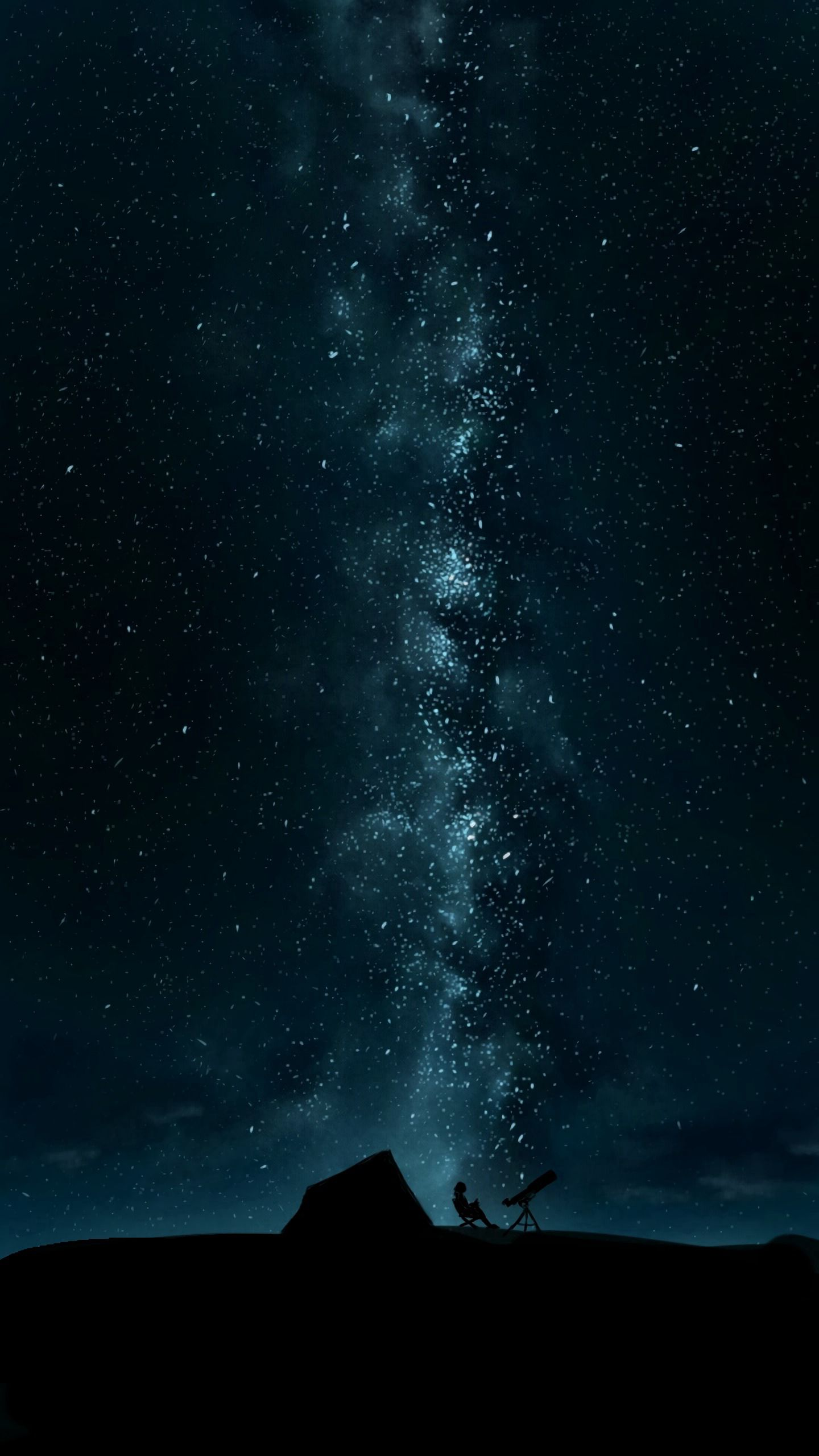 82167 download wallpaper Night, Dark, Silhouette, Starry Sky, Telescope screensavers and pictures for free