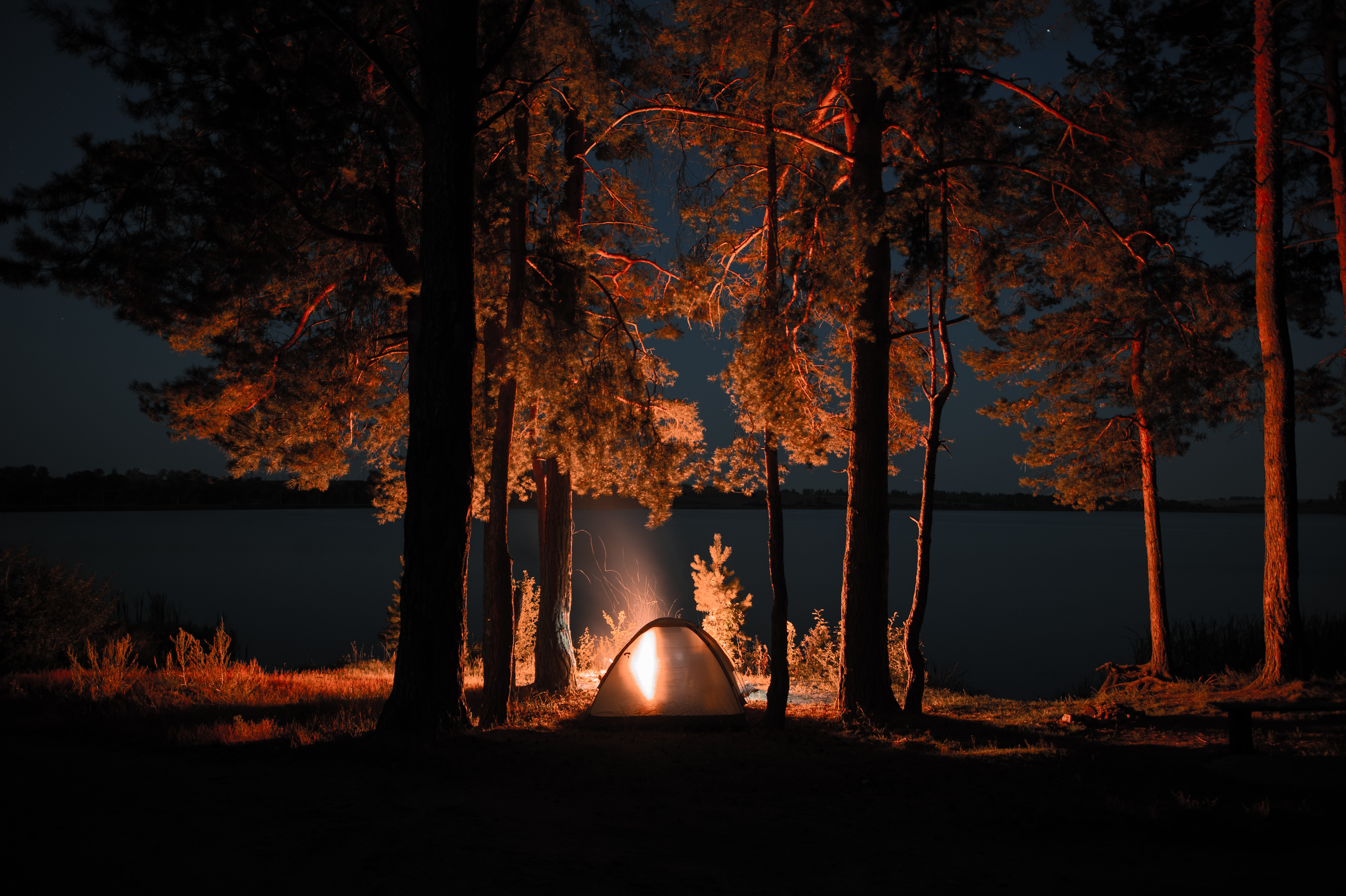 153363 Screensavers and Wallpapers Bonfire for phone. Download Night, Nature, Bonfire, Dark, Tent, Camping, Campsite pictures for free