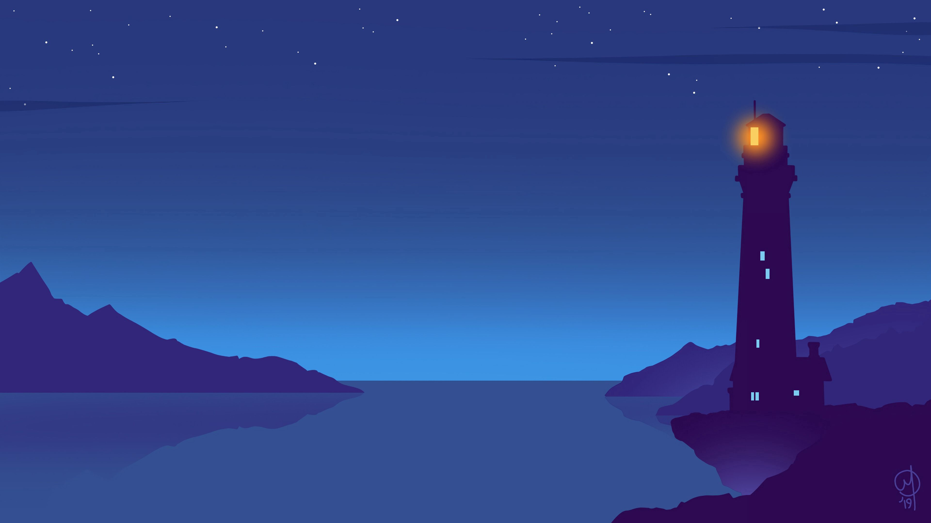 80498 free wallpaper 720x1280 for phone, download images Art, Night, Vector, Lighthouse 720x1280 for mobile