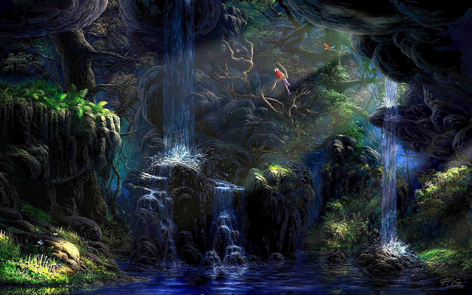 87781 Заставки и Обои Попугаи на телефон. Скачать Попугаи, Природа, Ночь, Скалы, Водопад, Растительность, Искусство картинки бесплатно