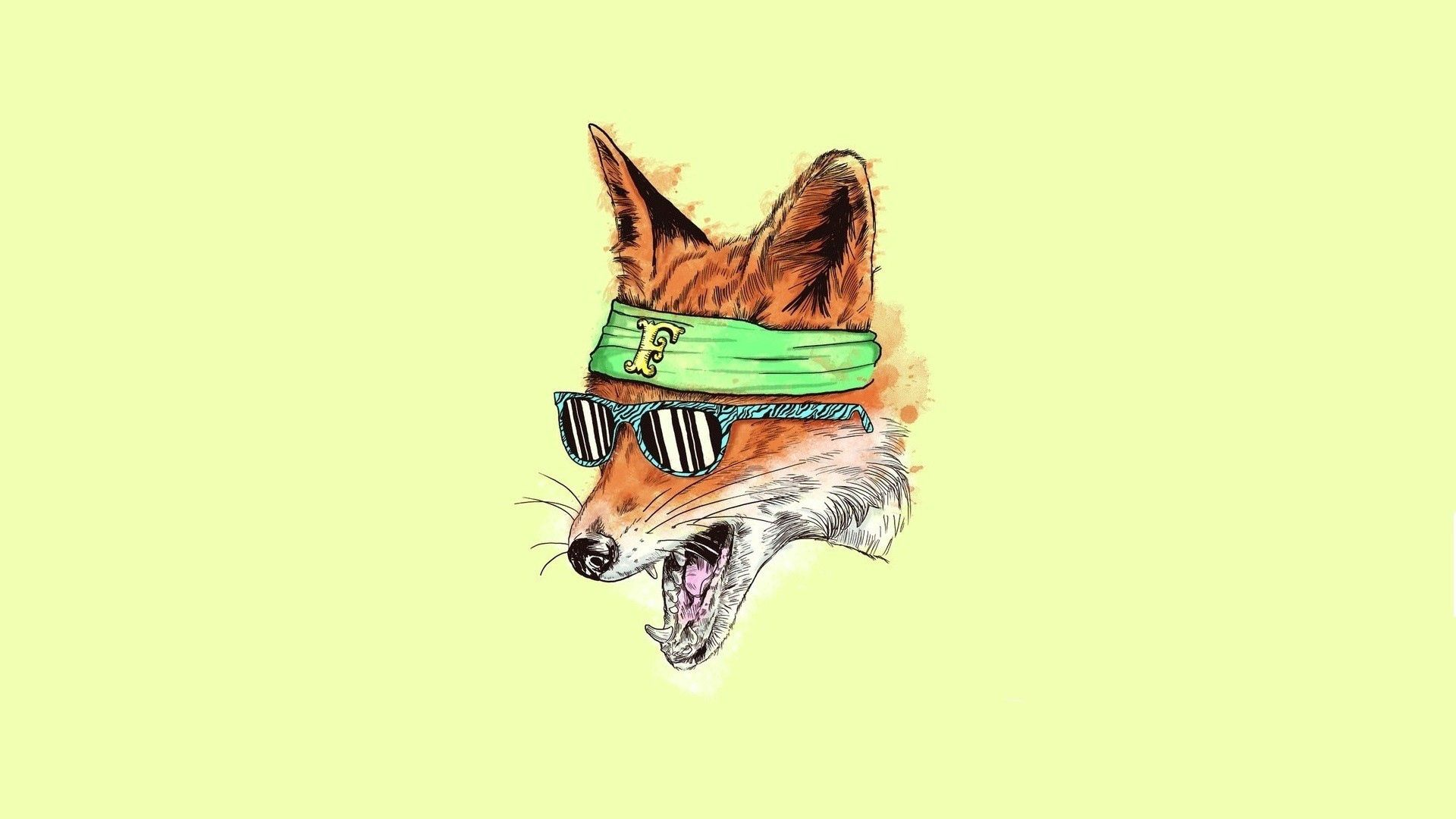 115722 download wallpaper Art, Fox, Bandage, Glasses, Spectacles, Picture, Drawing screensavers and pictures for free