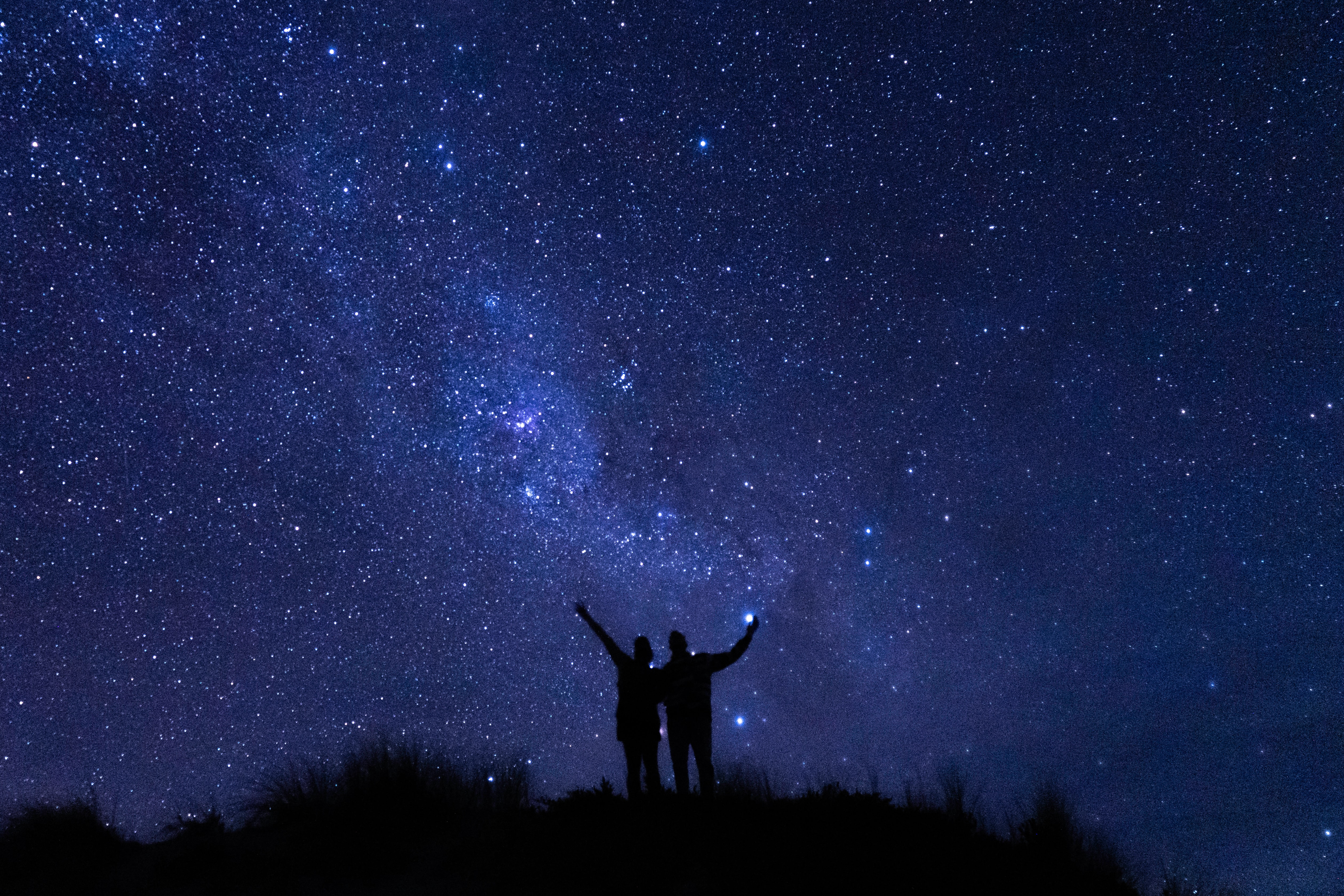 56196 download wallpaper People, Night, Dark, Silhouettes, Starry Sky screensavers and pictures for free