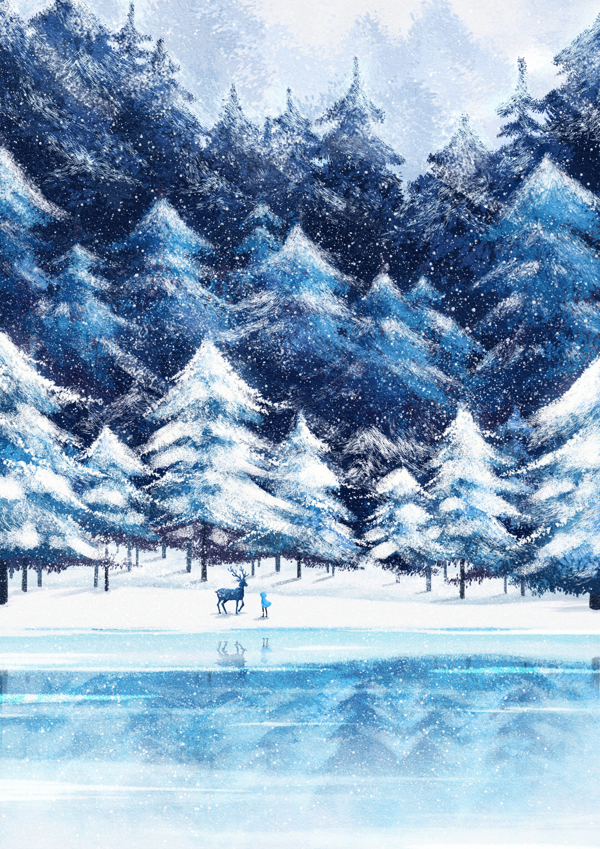 97761 download wallpaper Art, Forest, Deer, Silhouette, Snow, Winter screensavers and pictures for free