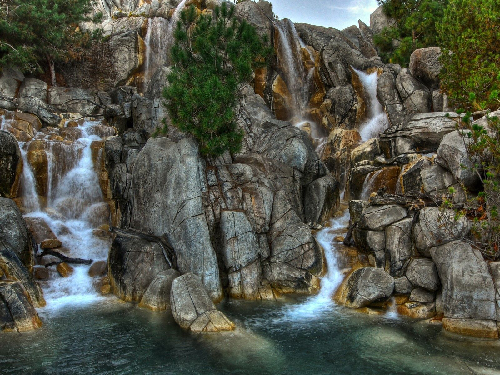 60281 download wallpaper Nature, Stones, Waterfalls, Vegetation, Greens screensavers and pictures for free