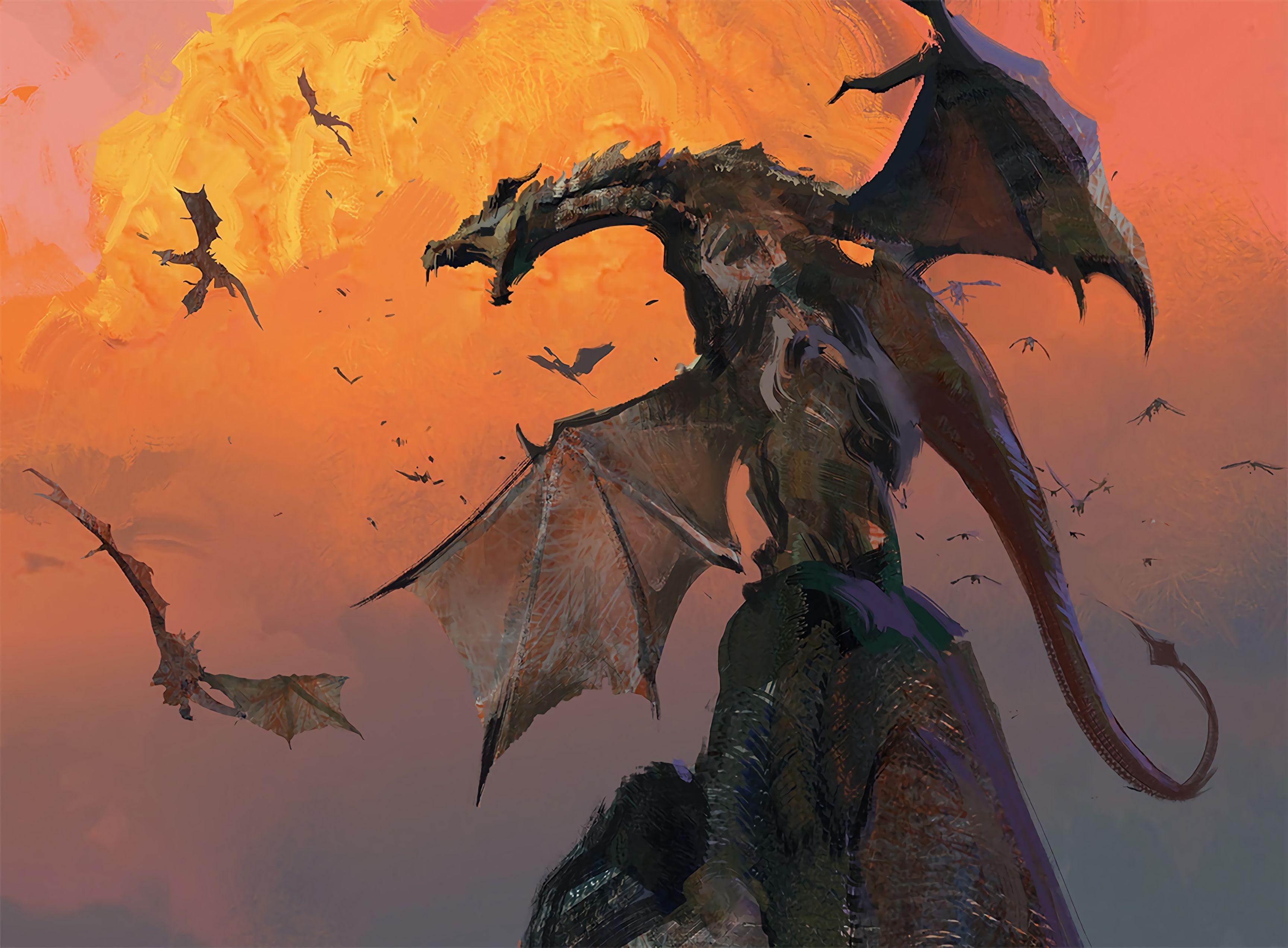 123967 Hintergrundbild herunterladen Kunst, Grinsen, Grin, Hügel, Flügel, Der Drache, Drachen, Hill, Schlacht - Bildschirmschoner und Bilder kostenlos