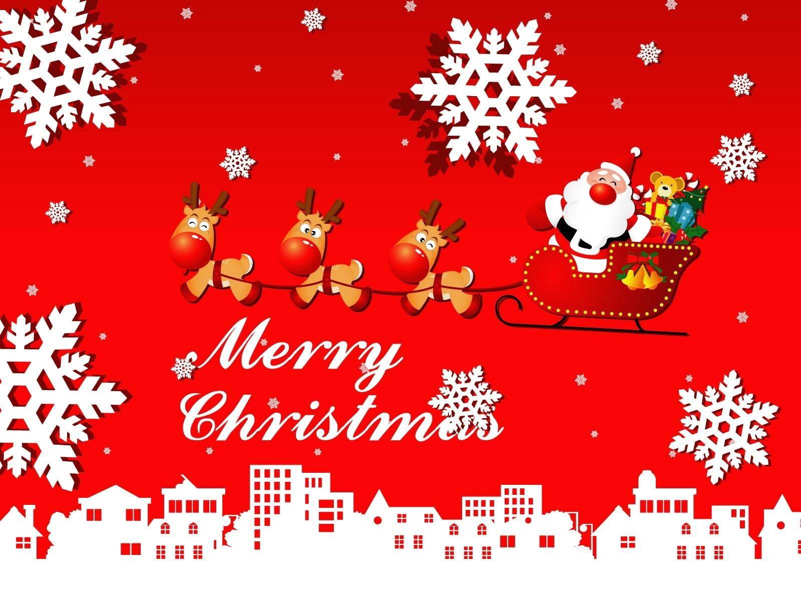 136991 descargar fondo de pantalla Vacaciones, Papá Noel, Trineo, Presenta, Regalos, Ciervos, Los Copos De Nieve, Ciudad, Navidad: protectores de pantalla e imágenes gratis