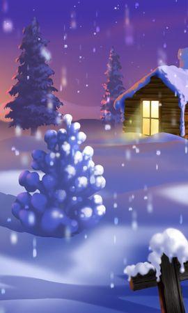 10851 скачать обои Пейзаж, Зима, Новый Год (New Year), Снег, Елки, Рождество (Christmas, Xmas), Рисунки - заставки и картинки бесплатно
