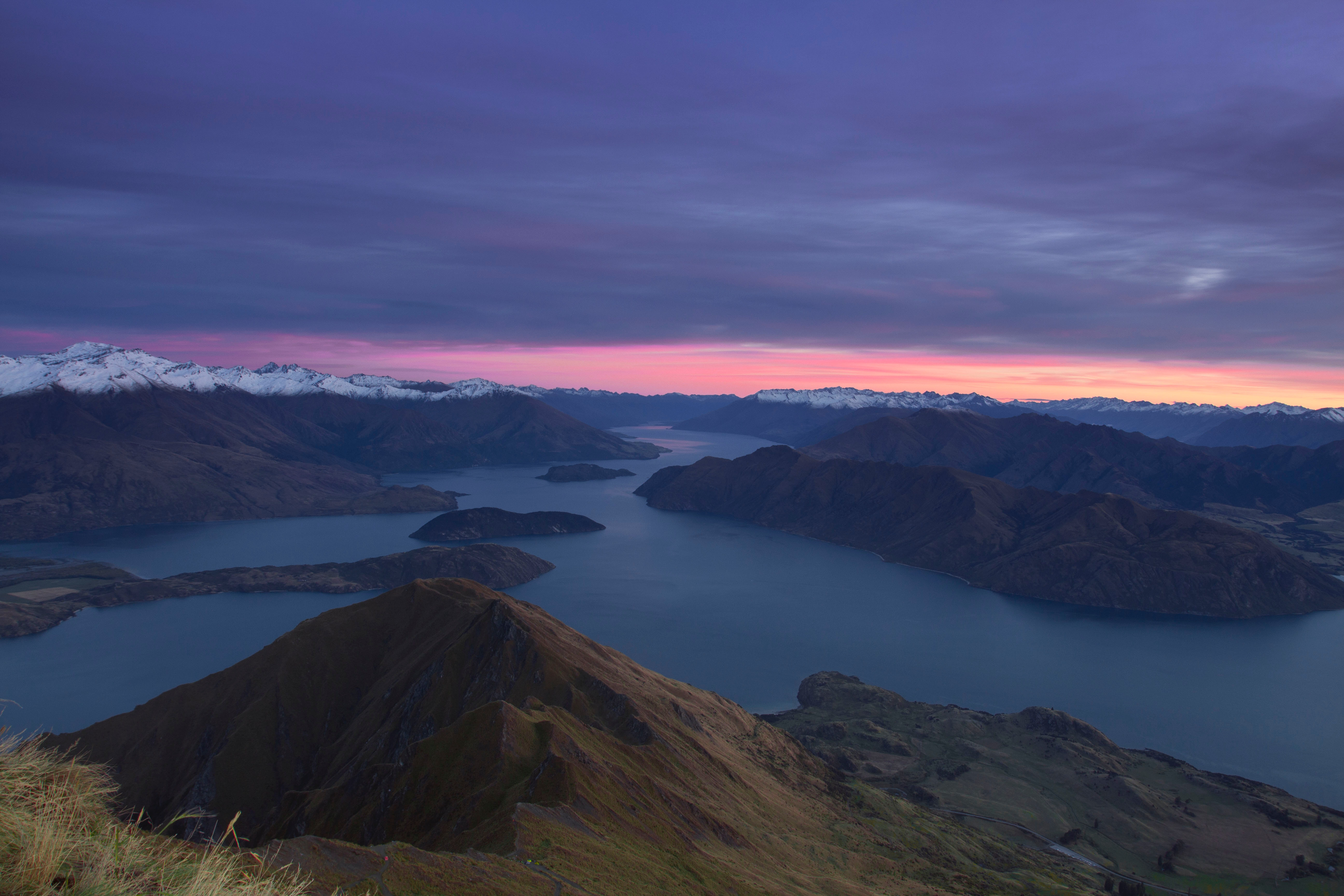 116725 Screensavers and Wallpapers New Zealand for phone. Download Nature, Mountains, Dawn, View From Above, Lake, New Zealand pictures for free