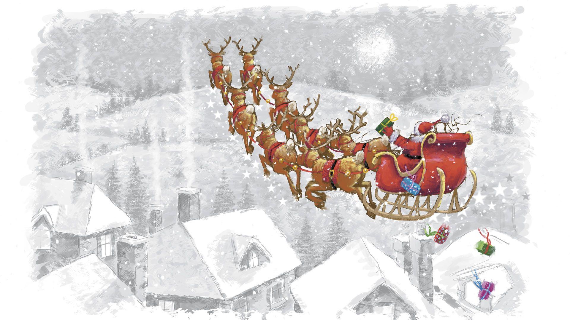 107710 скачать обои Праздники, Олени, Полет, Сани, Санта Клаус, Подарки - заставки и картинки бесплатно