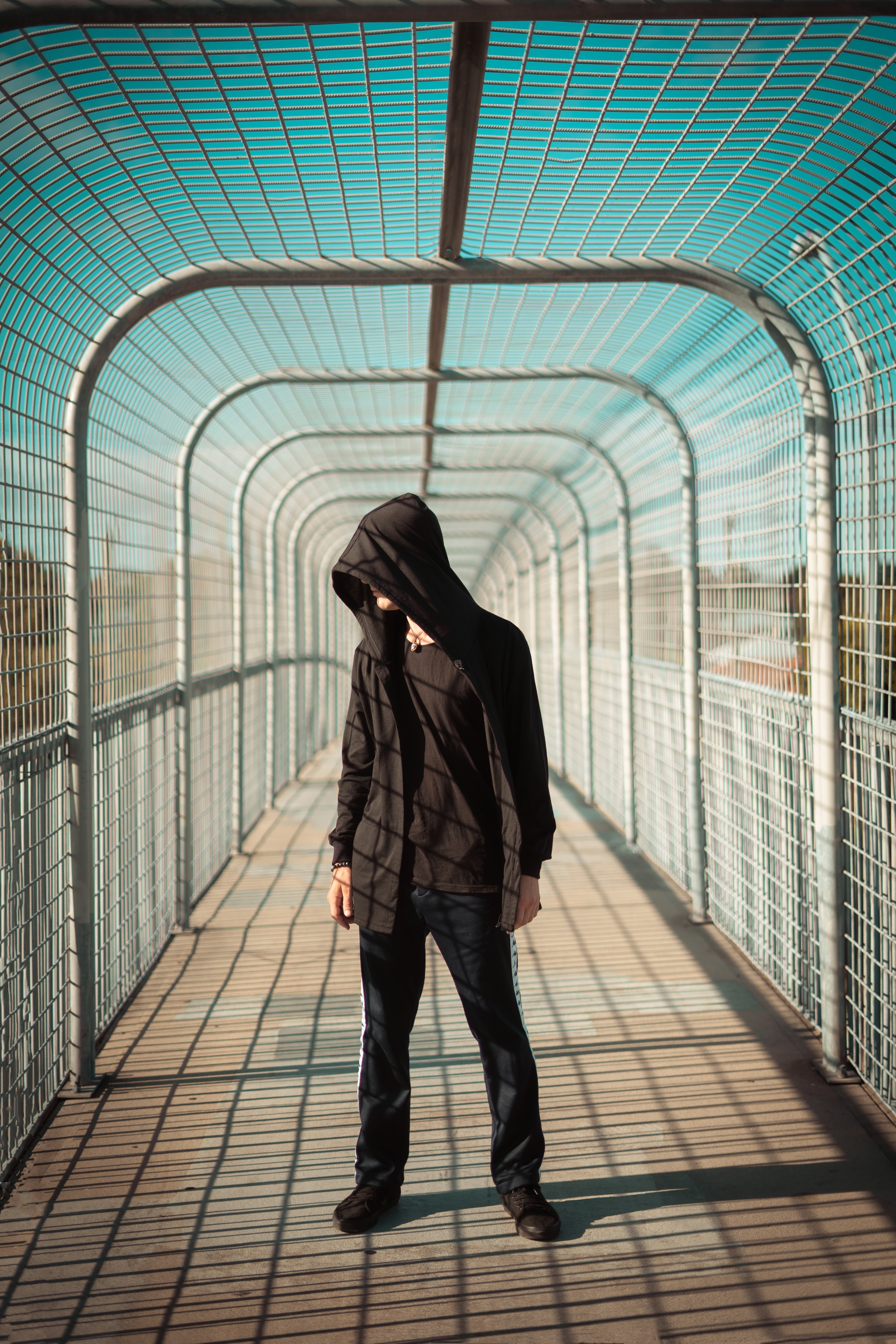 129514 free wallpaper 1125x2436 for phone, download images Miscellanea, Miscellaneous, Bridge, Human, Person, Tunnel, Hood 1125x2436 for mobile