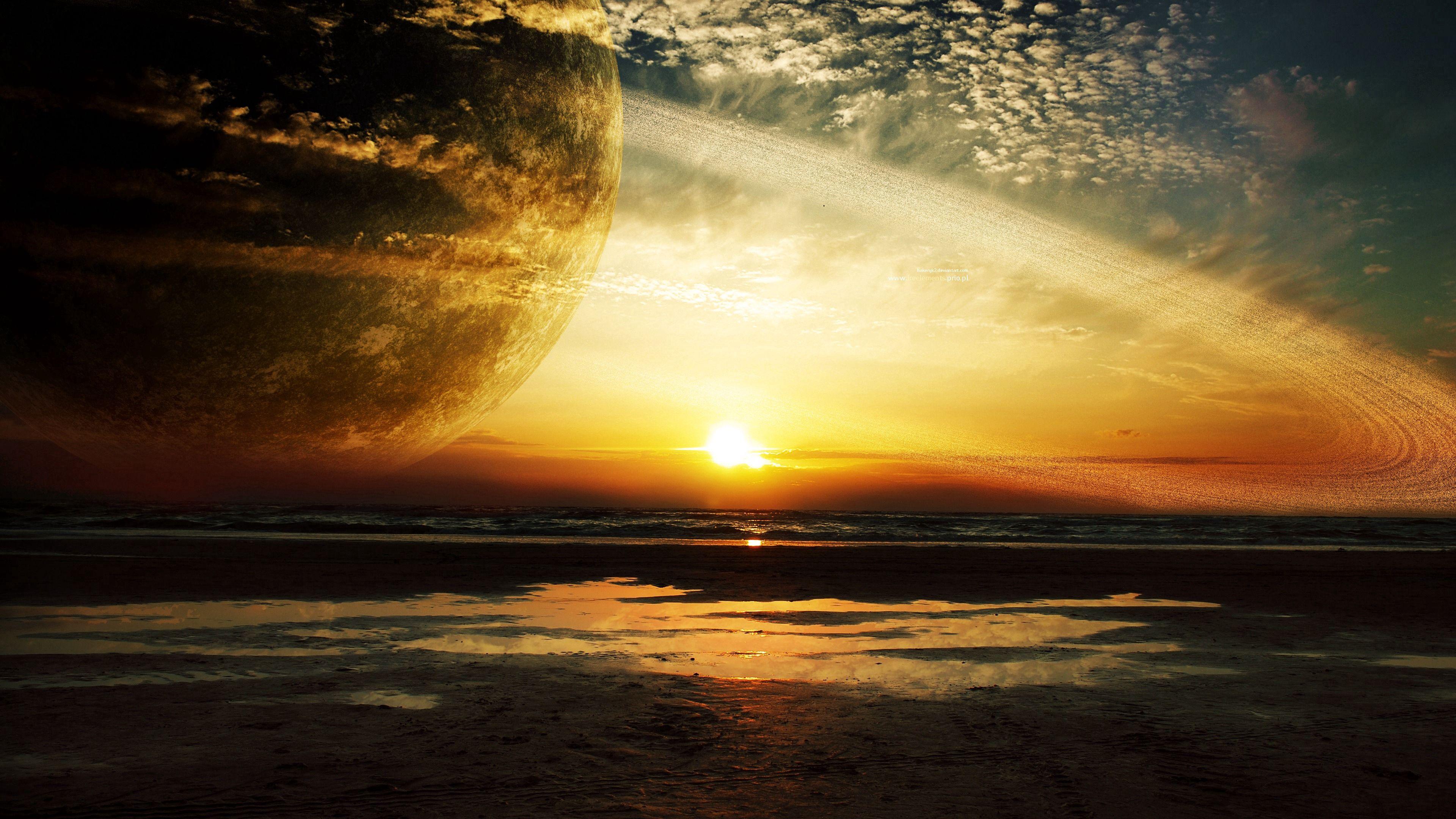 55727 免費下載壁紙 日落, 行星, 宇宙, 海, 戒指 屏保和圖片