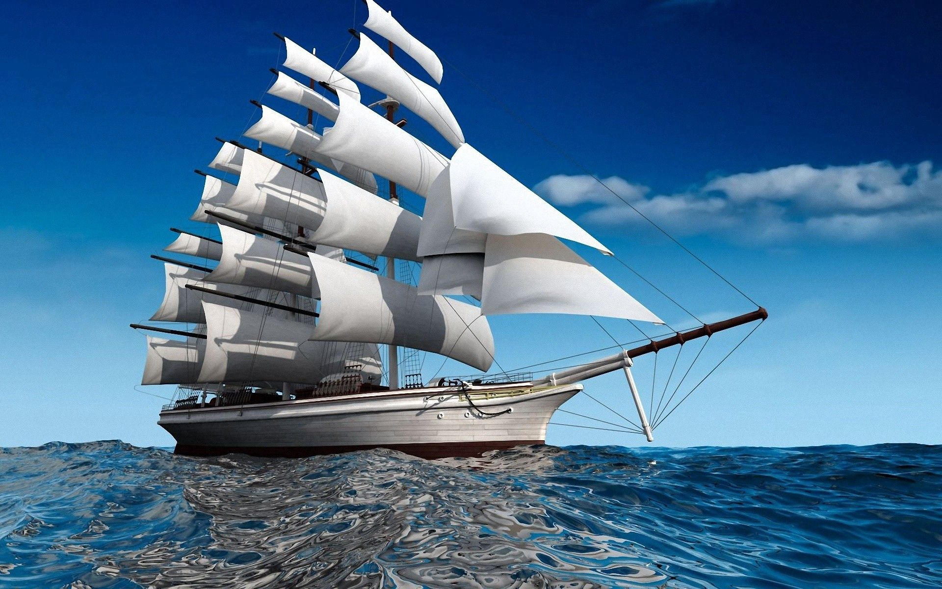 58328 download wallpaper Sea, Swimming, Miscellanea, Miscellaneous, Sail, Ship screensavers and pictures for free