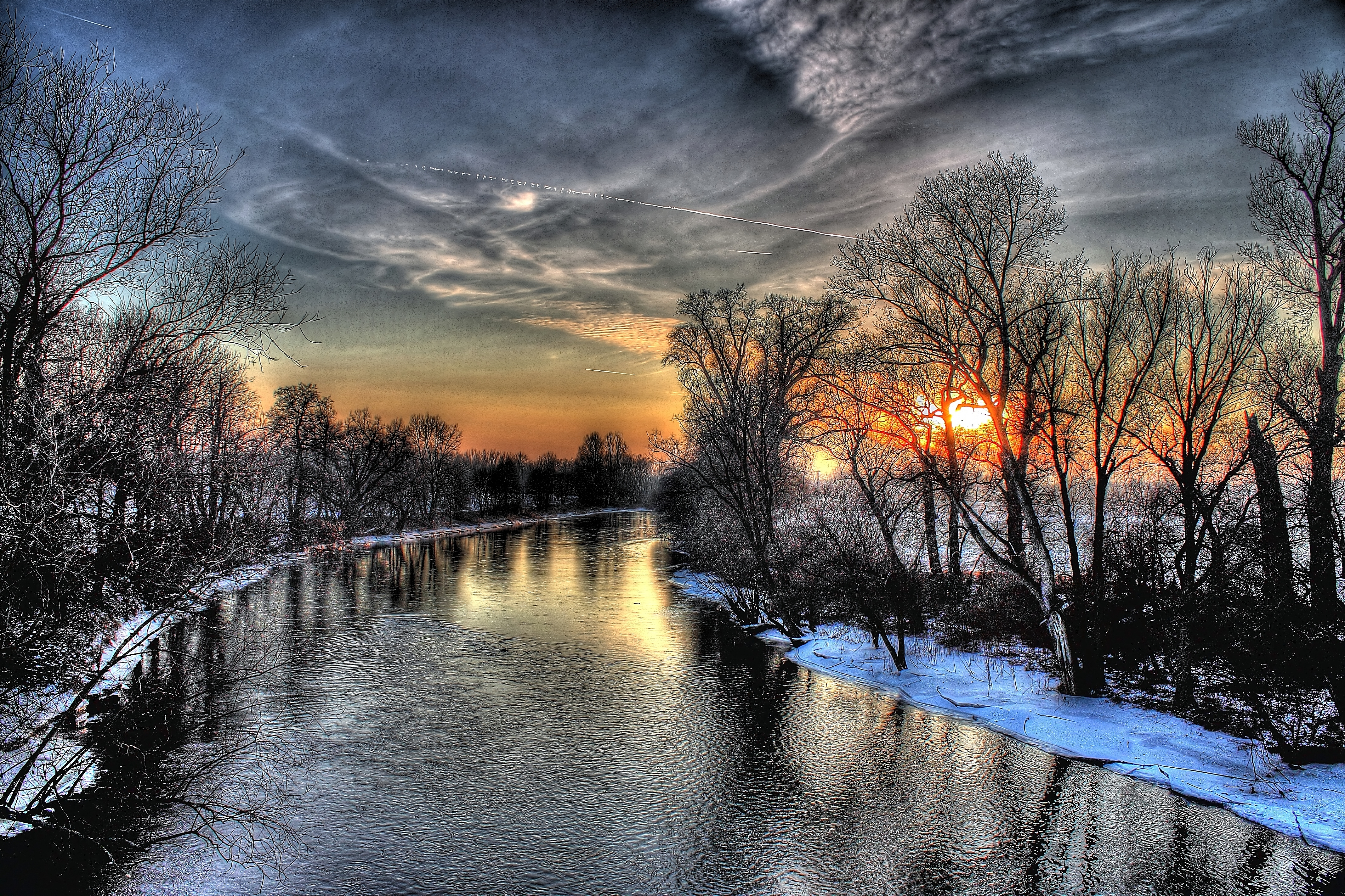 152199 скачать обои Зима, Природа, Закат, Река, Небо, Hdr - заставки и картинки бесплатно