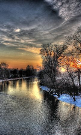 152199 скачать обои Природа, Закат, Зима, Река, Небо, Hdr - заставки и картинки бесплатно