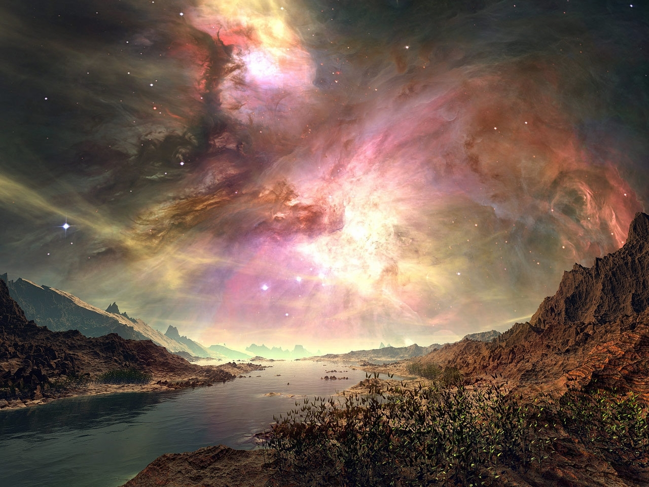 31226 download wallpaper Landscape, Rivers, Sky, Art Photo screensavers and pictures for free