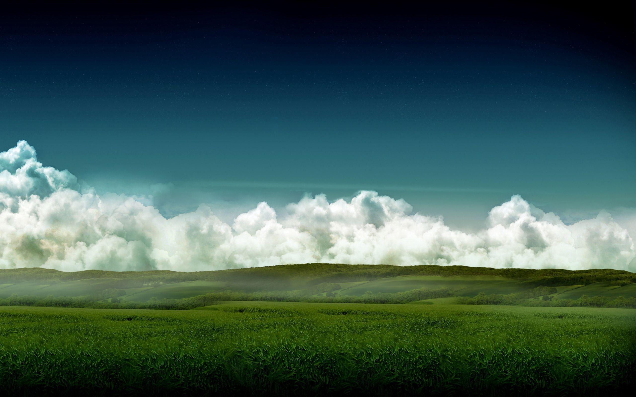58044 скачать обои Природа, Луга, Поля, Облака, Небо, Объемные, Цвета, Дымка, Трава, Лето, Зеленый, След - заставки и картинки бесплатно