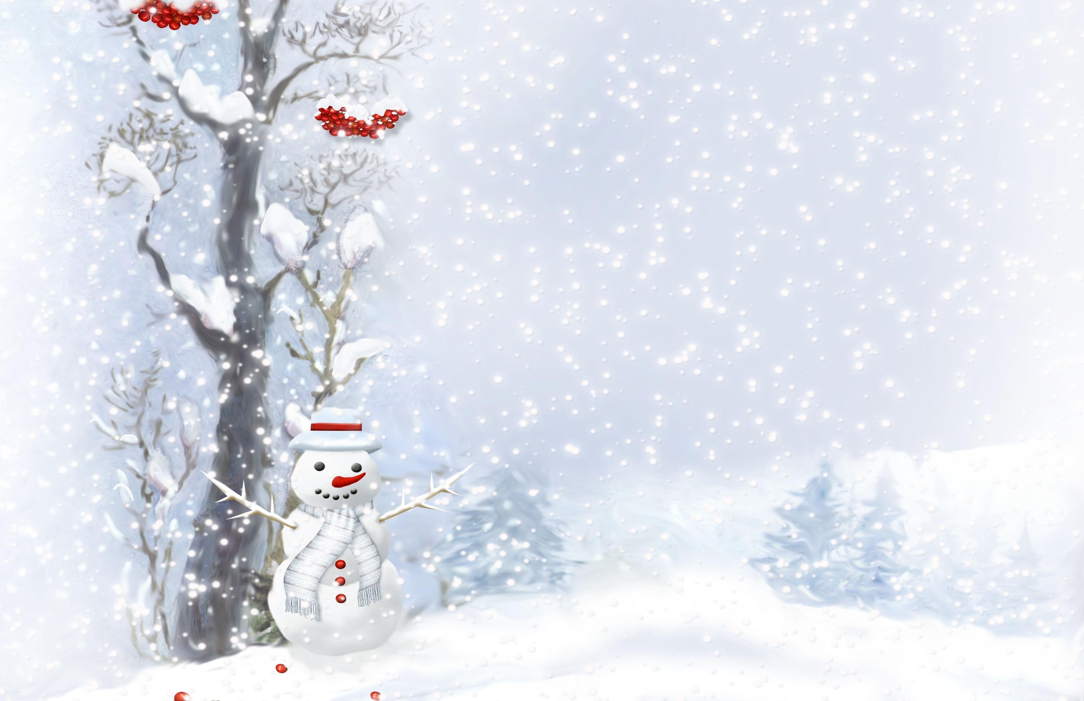 146055 Hintergrundbild herunterladen Feiertage, Berries, Schneemann, Holz, Baum, Tasten, Schaltflächen, Schneefall, Schal, Weihnachtsbäume - Bildschirmschoner und Bilder kostenlos
