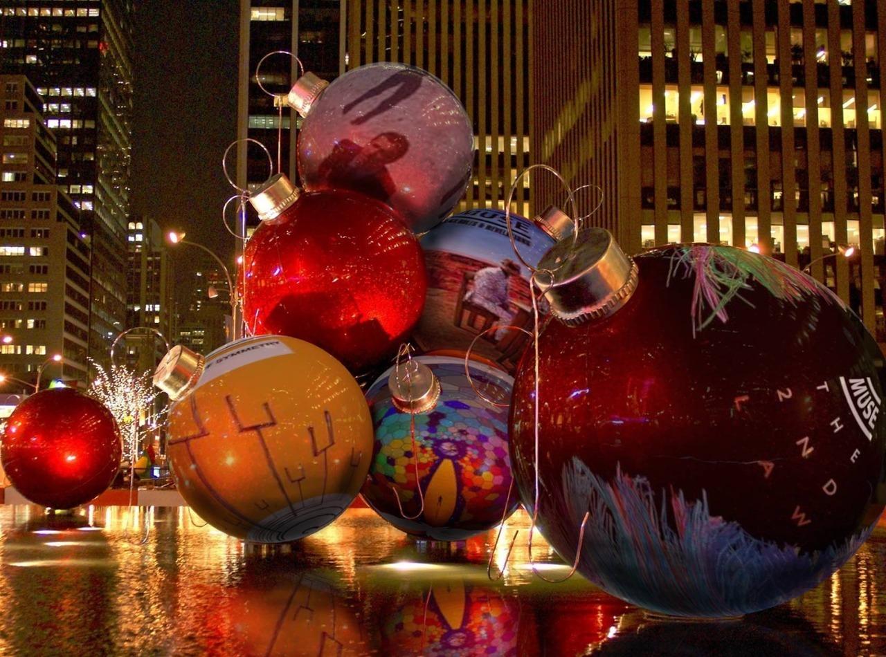 22664 скачать обои Праздники, Пейзаж, Улицы, Новый Год (New Year) - заставки и картинки бесплатно