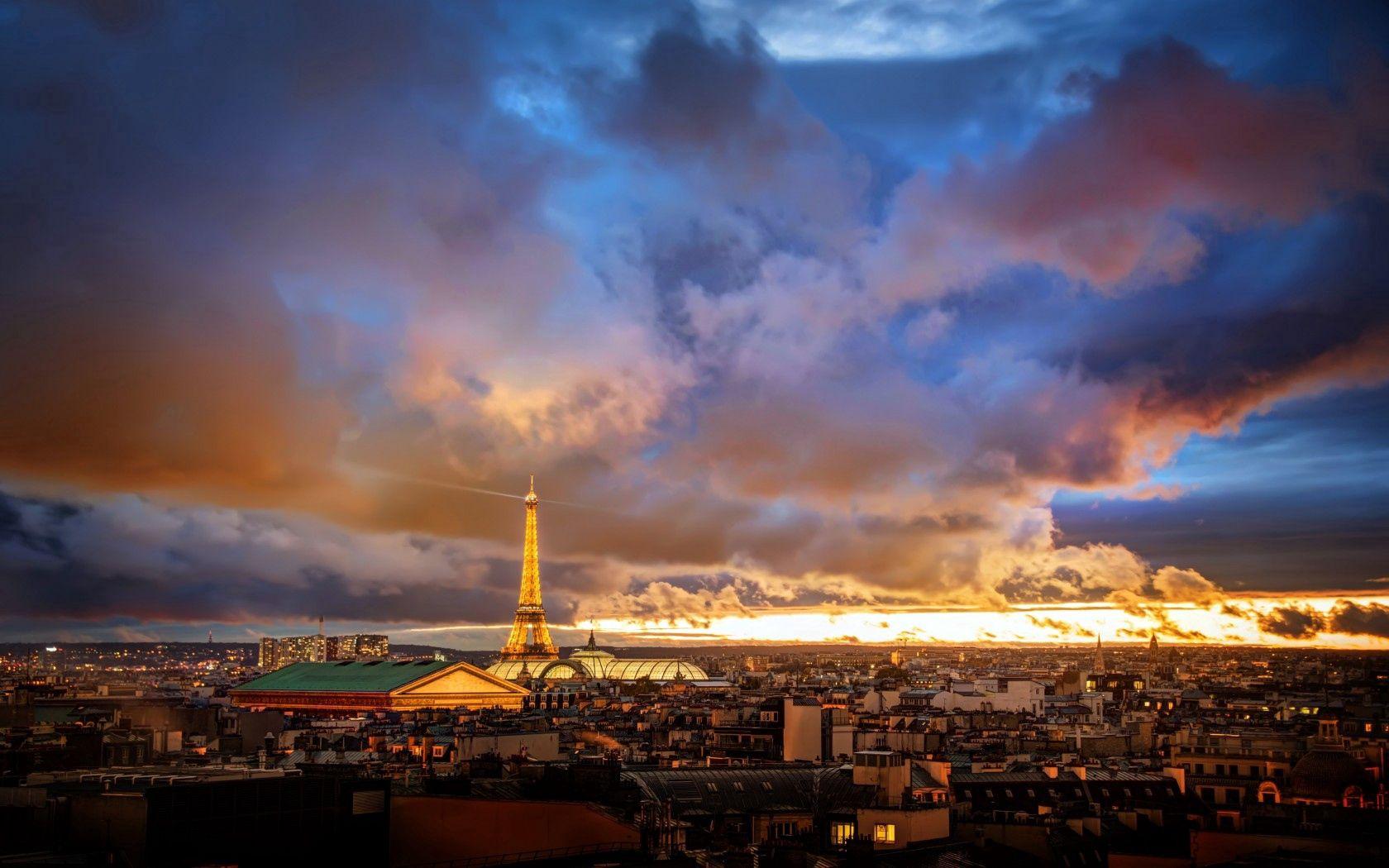 134971 télécharger le fond d'écran France, Paris, Maisons, Dahl, Distance, Horizon, Aube, Coucher De Soleil, Sky, Nuages, Villes, Tour Eiffel - économiseurs d'écran et images gratuitement
