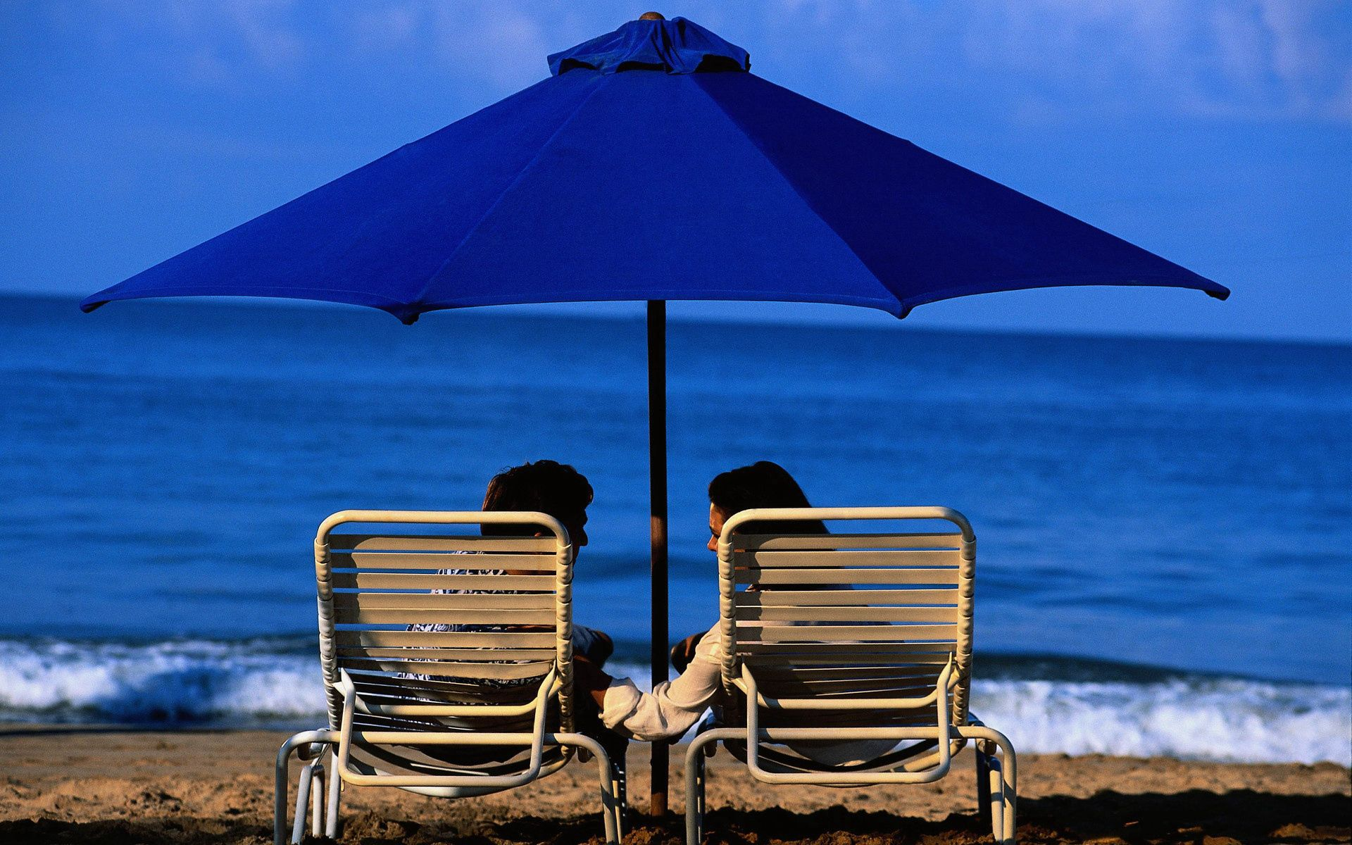120486 Screensavers and Wallpapers Guy for phone. Download Sea, Beach, Love, Couple, Pair, To Lie Down, Lie, Girl, Umbrella, Guy, Sun Loungers, Sun Beds pictures for free