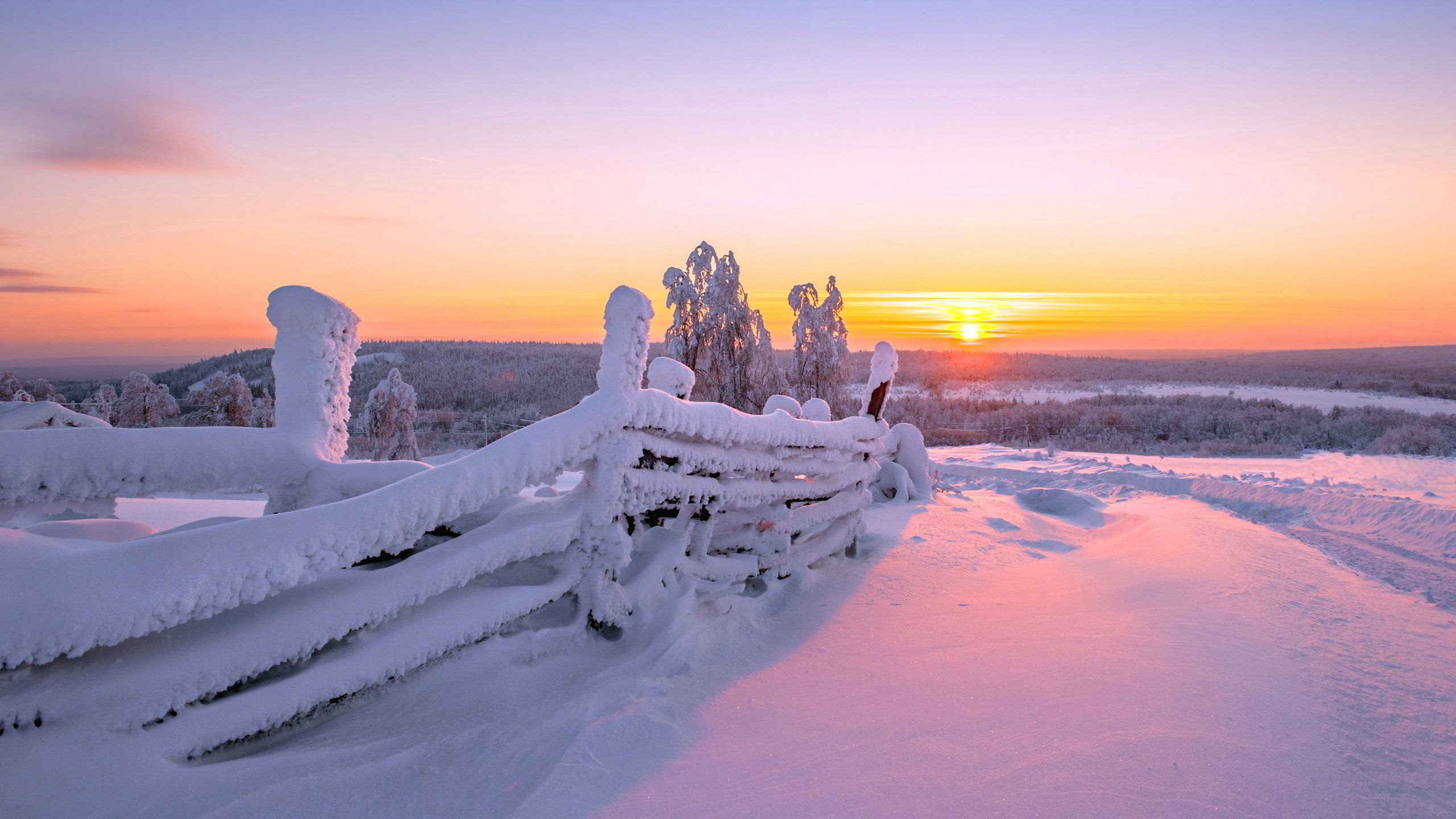 75964 download wallpaper Nature, Sunset, Winter, Fence, Landscape screensavers and pictures for free