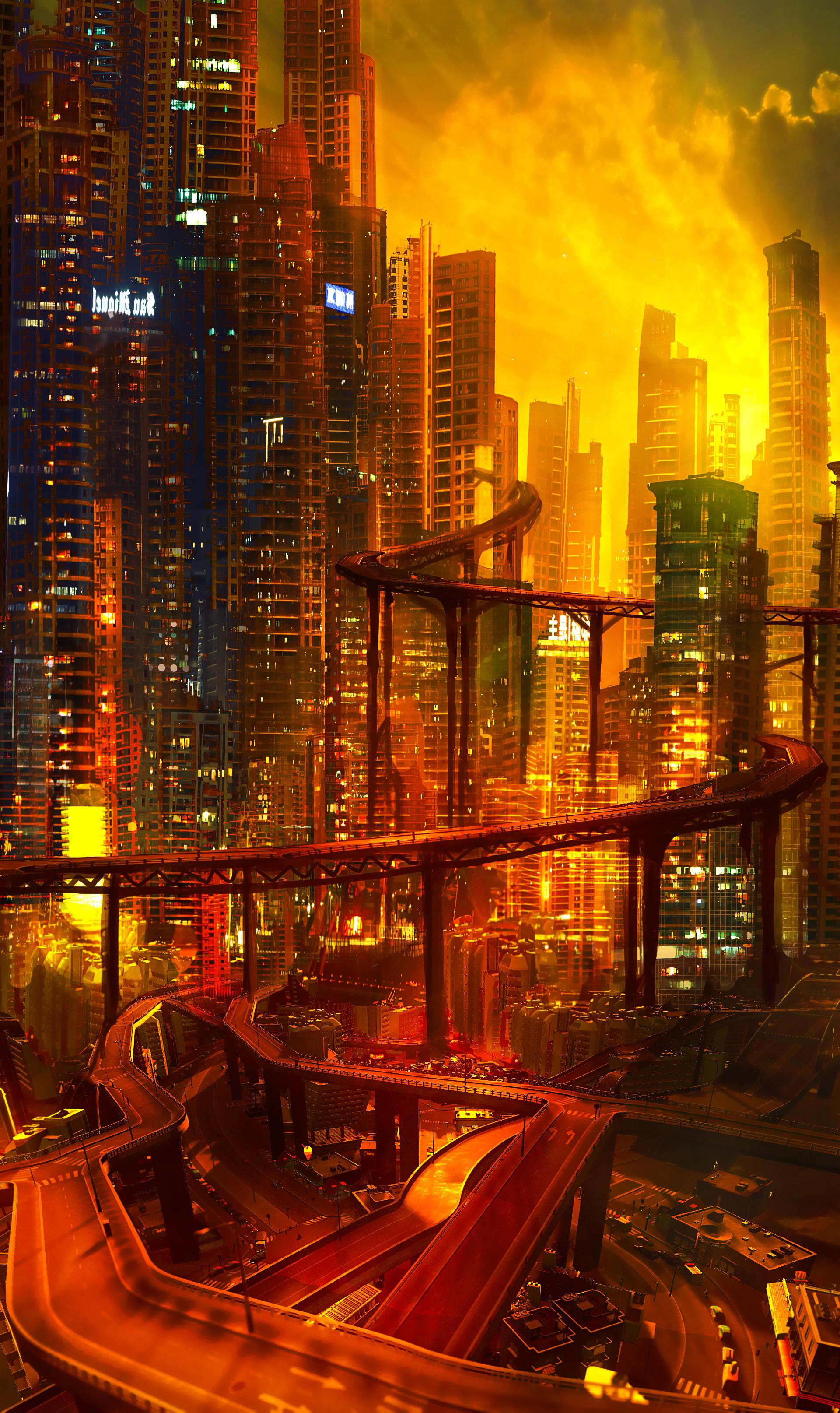 94287 Salvapantallas y fondos de pantalla Arquitectura en tu teléfono. Descarga imágenes de Arte, Ciudad, Futuro, Cyberpunk, Noche, Las Luces, Luces, Cruce De Carreteras, Arquitectura gratis