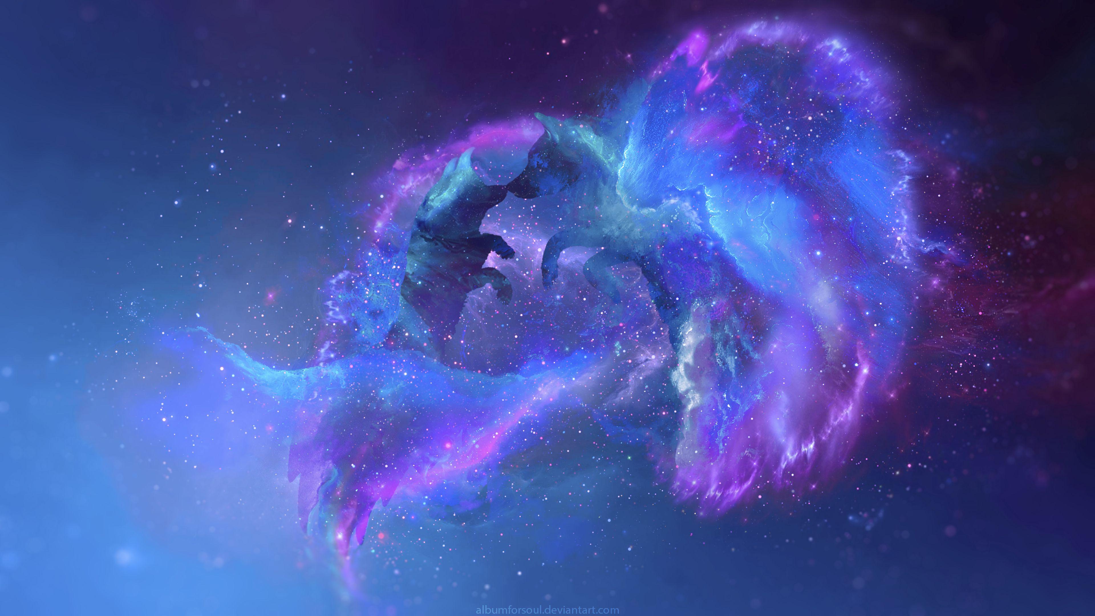132499 скачать обои Волки, Силуэты, Галактика, Арт, Звезды, Вселенная - заставки и картинки бесплатно