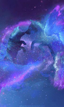 132499 завантажити шпалери Арт, Вовки, Силуети, Галактика, Галактики, Всесвіт, Зірки - заставки і картинки безкоштовно