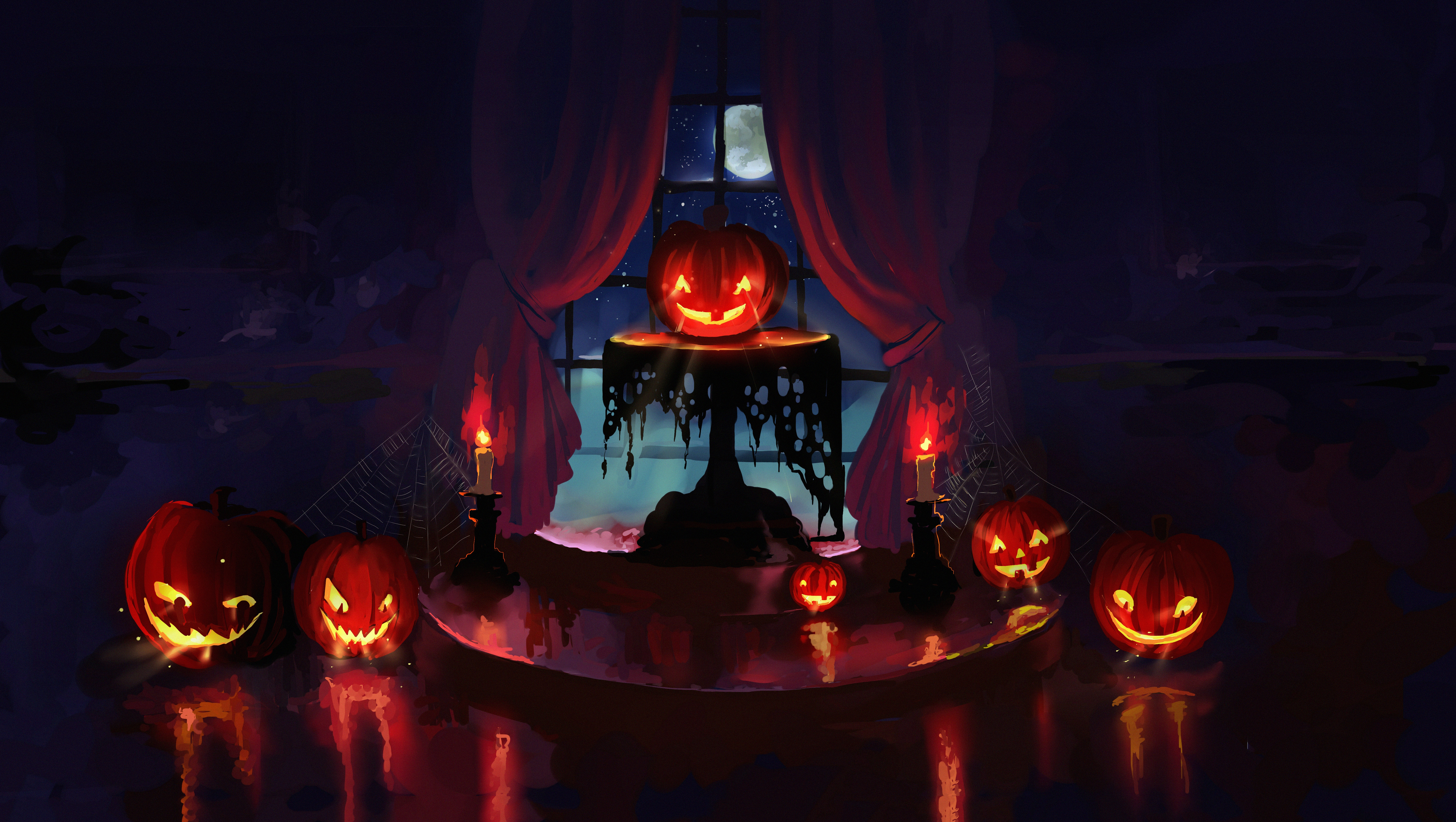 144161 download wallpaper Pumpkin, Art, Halloween, Night, Candles screensavers and pictures for free