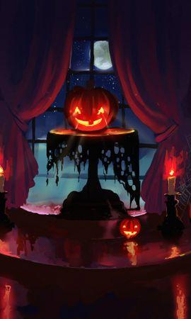 144161 завантажити шпалери Гарбуз, Хеллоуїн, Хелловін, Арт, Свічки, Ніч - заставки і картинки безкоштовно