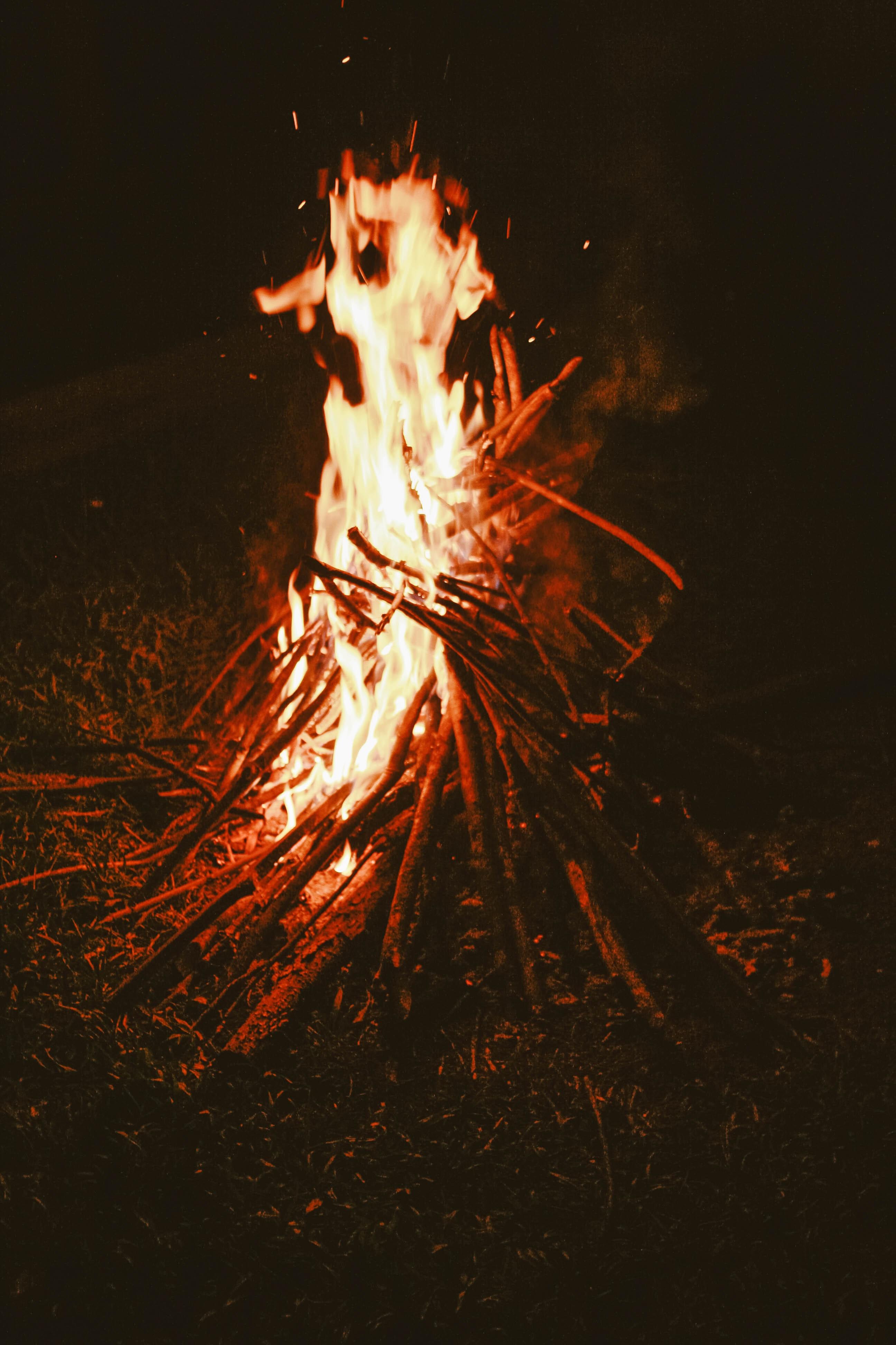 54524 免費下載壁紙 黑暗的, 黑暗, 篝火, 火, 柴, 木柴 屏保和圖片