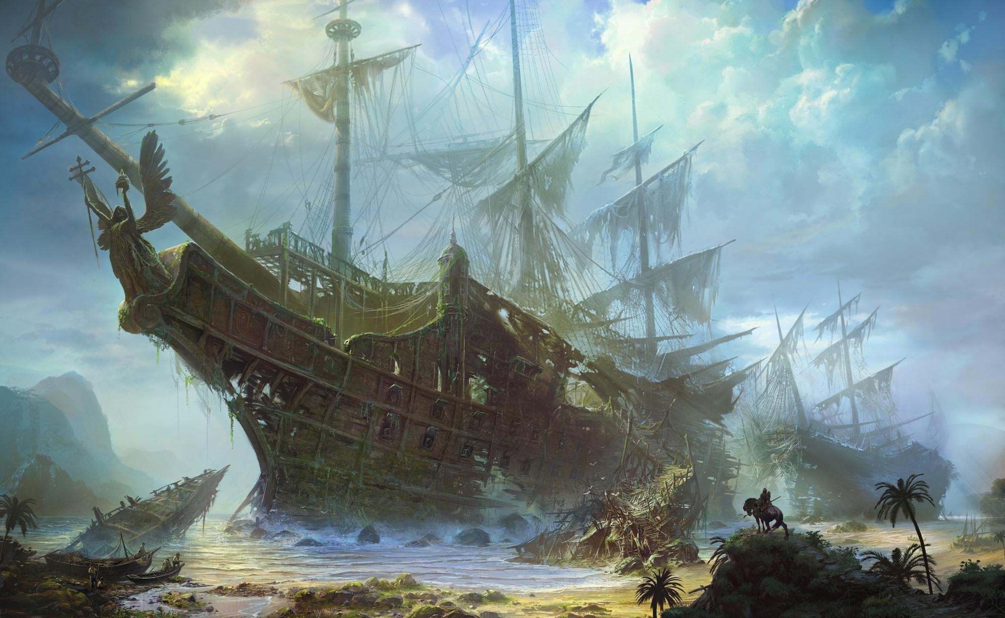 62224 download wallpaper Fantasy, Ships, Old, Wreckage, Detritus, Shore, Bank, Sea, Sky, Clouds screensavers and pictures for free