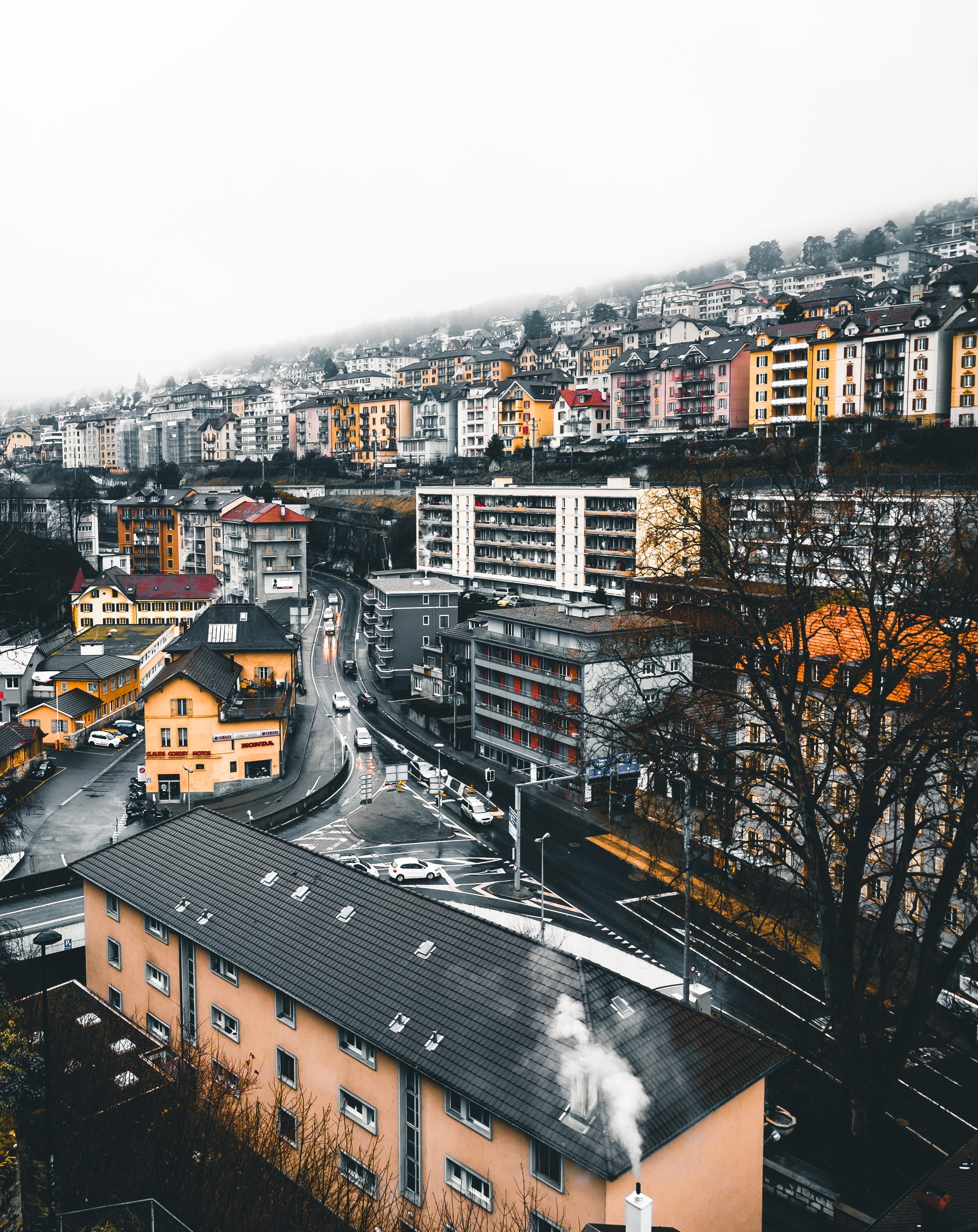 89631 скачать обои Швейцария, Города, Дома, Город, Здания, Вид Сверху, Улица, Невшатель - заставки и картинки бесплатно