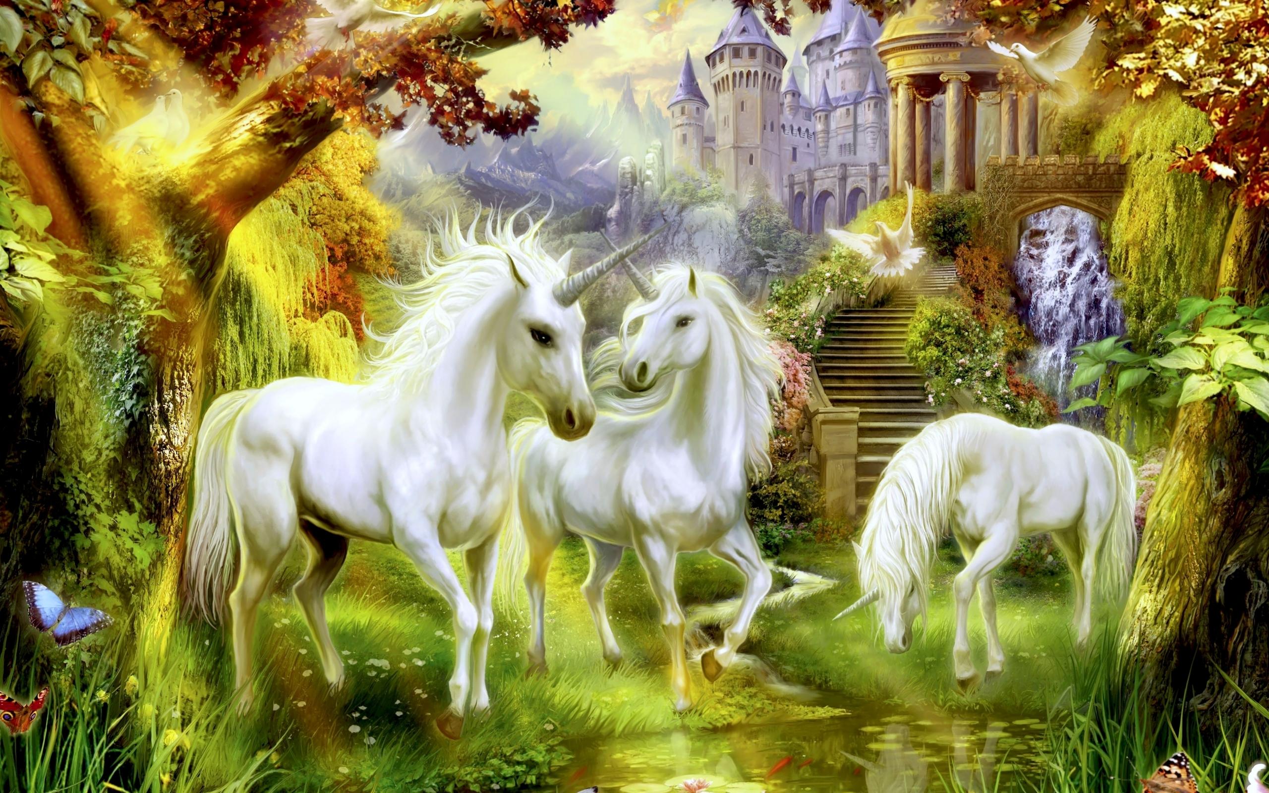 43846 скачать обои Рисунки, Единороги, Животные - заставки и картинки бесплатно