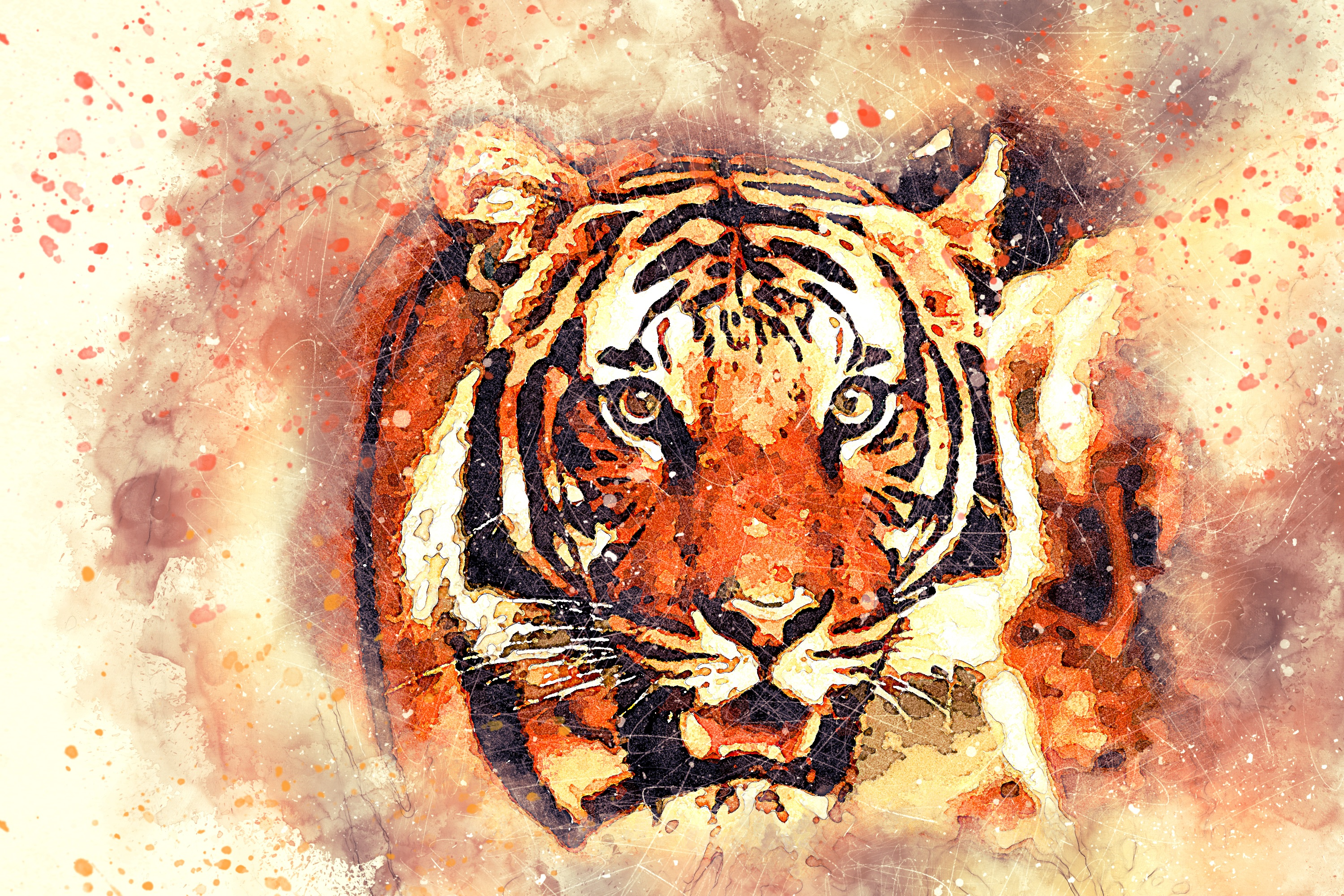 104163 download wallpaper Animals, Tiger, Art, Grin, Muzzle screensavers and pictures for free