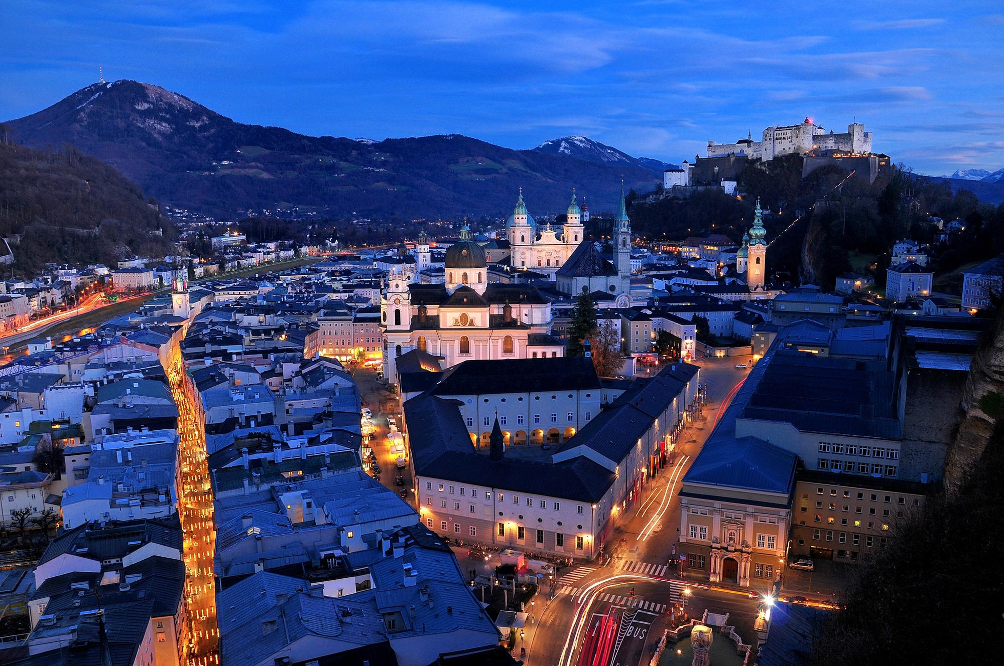 51614 скачать обои Города, Улицы, Ночь, Здания, Вид Сверху, Австрия, Зальцбург - заставки и картинки бесплатно
