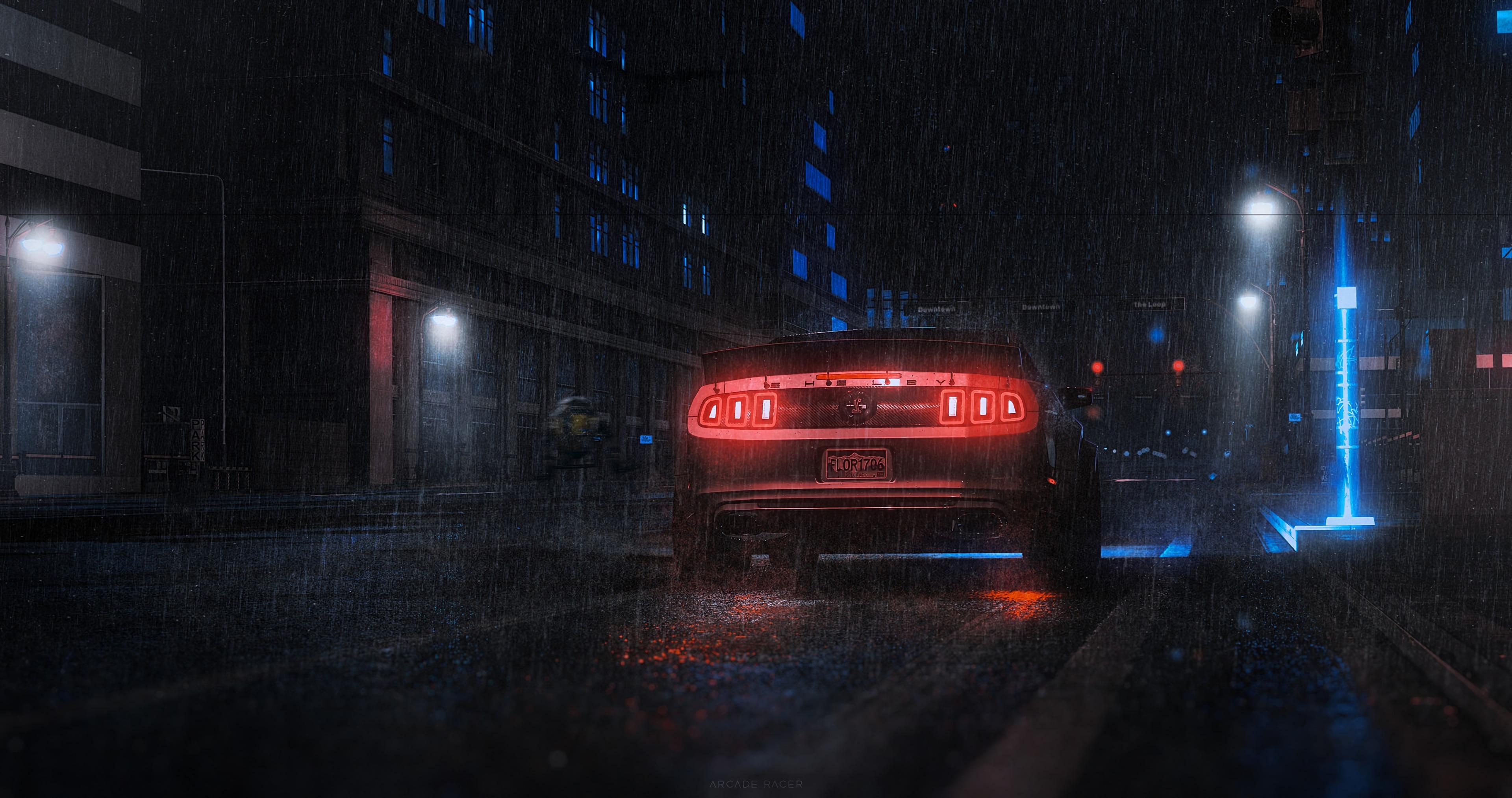 56040 Заставки и Обои Тачки (Cars) на телефон. Скачать Тачки (Cars), Дождь, Автомобиль, Неон, Спорткар, Вид Сзади картинки бесплатно