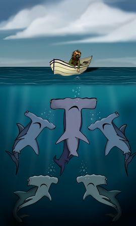 64615 baixar papel de parede Um Barco, Barco, Humano, Pessoa, Mar, Profundidade, Arte, Sharks - protetores de tela e imagens gratuitamente